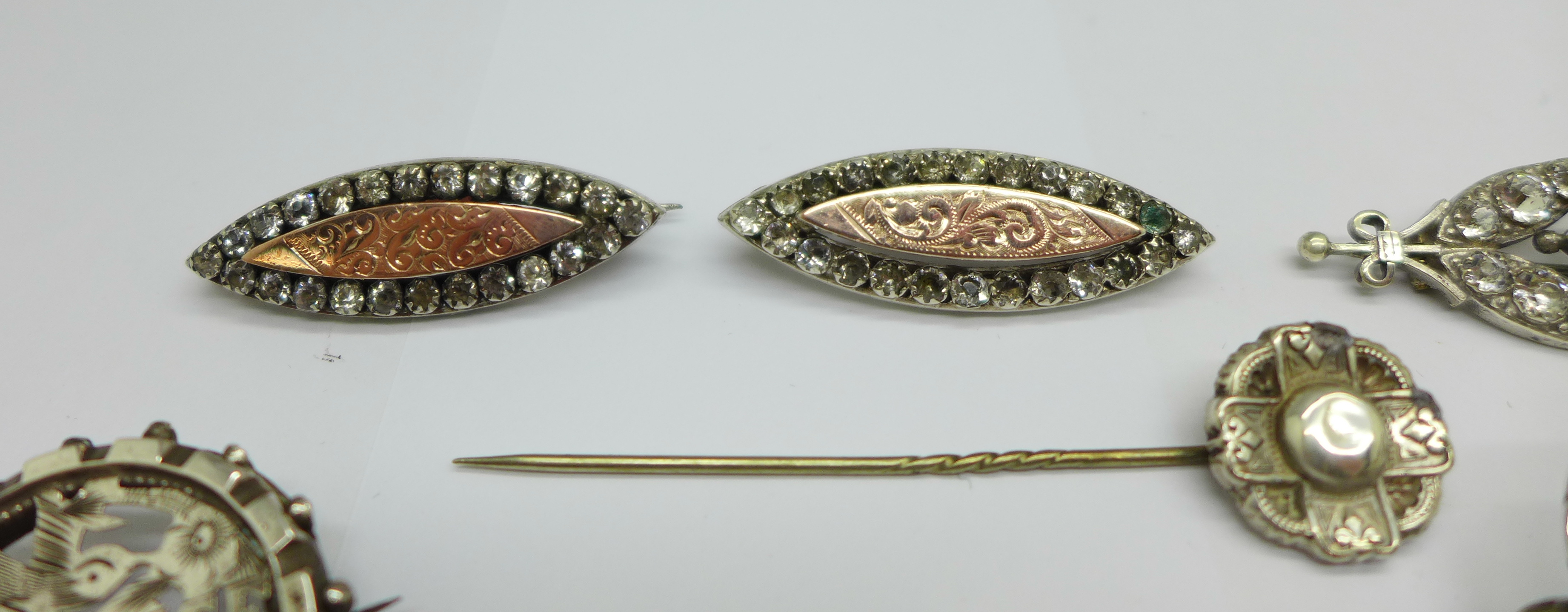 Two hallmarked Victorian silver and gilt fronted brooches, four other brooches, two stick pins and a - Image 2 of 4