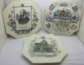 Three Victorian transfer printed plates; Queen Victoria, 1887 Jubilee Year, Disraeli and Marquis