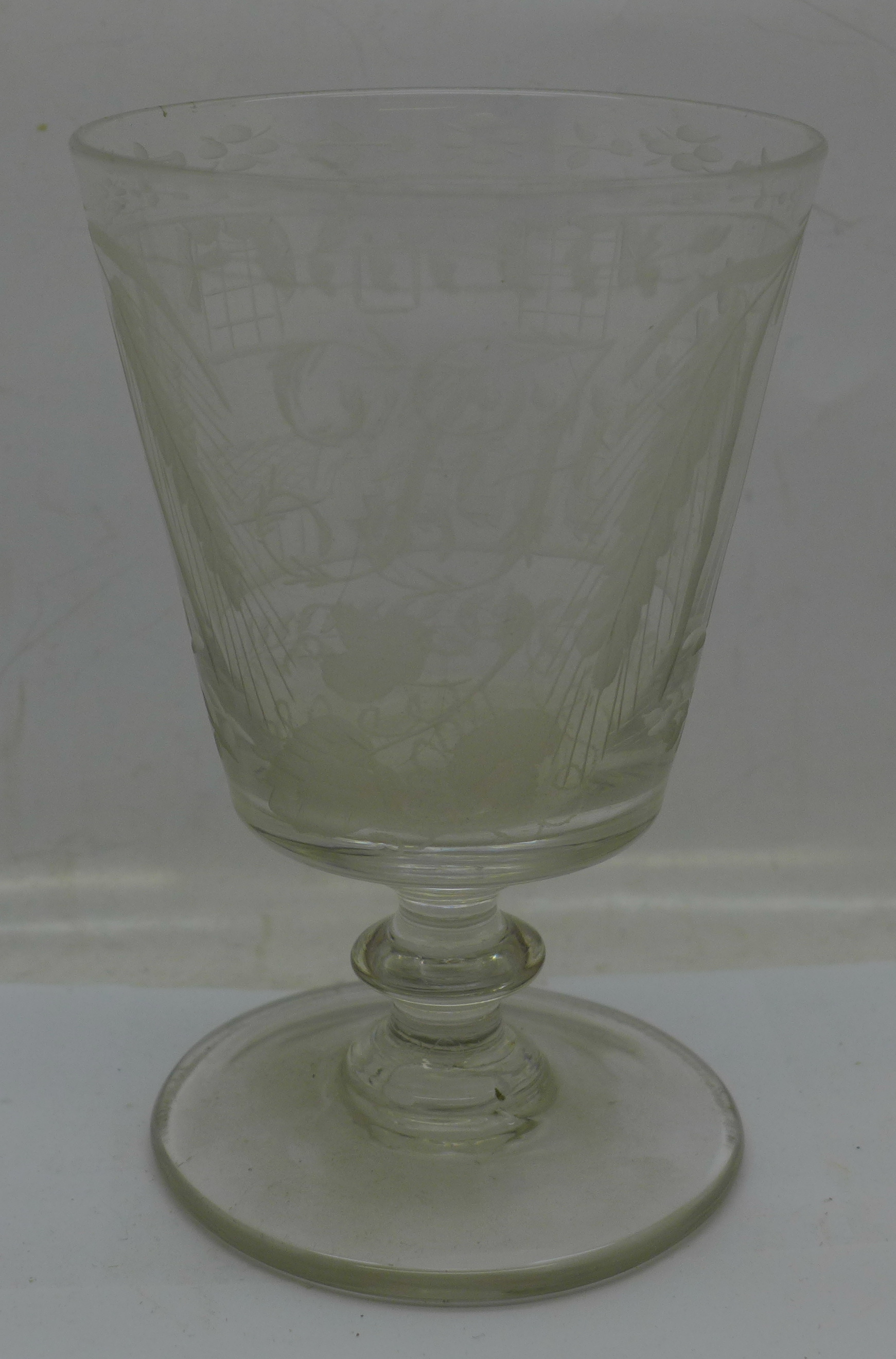 A 19th Century etched glass rummer, 133mm