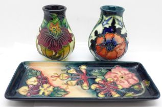 Two small Moorcroft vases, Poppy and Anna Lily and an Oberon tray (3)