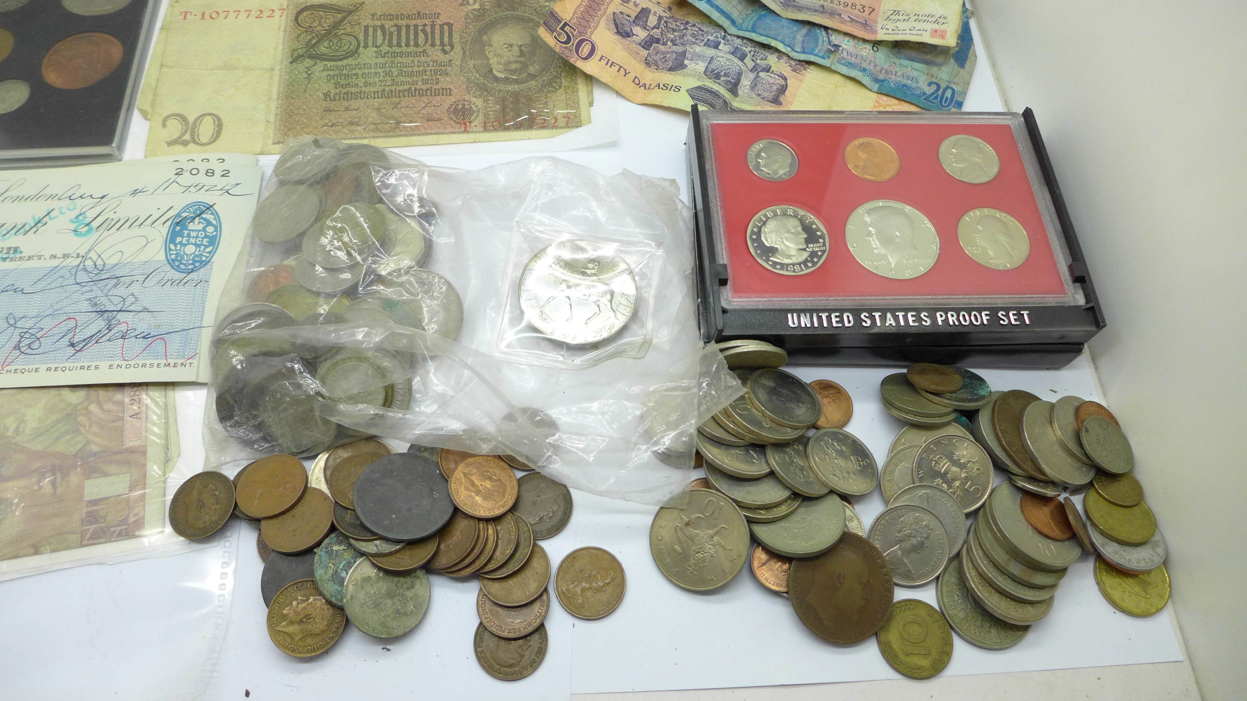 A tin of coins, bank notes and cheques - Image 2 of 5
