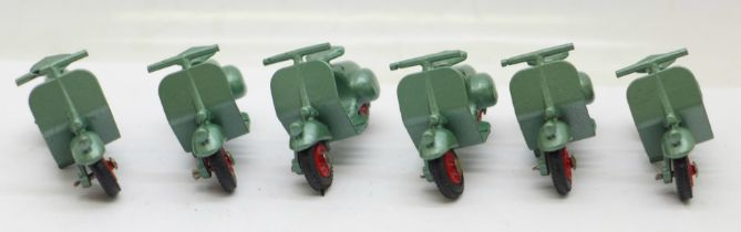 Six model Benbros Mighty Midgets 15 Vespa Scooters, in metallic green with red hubs