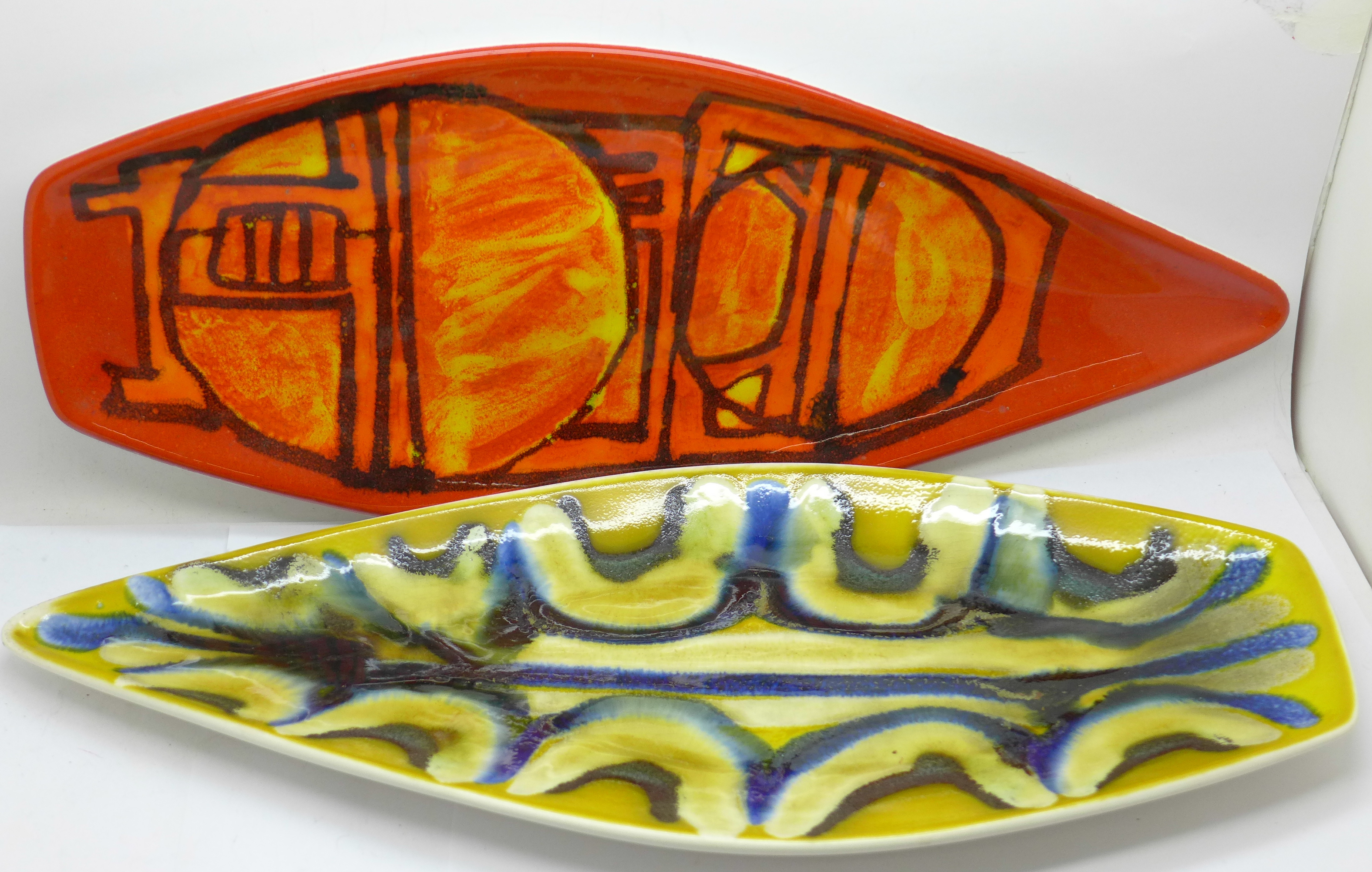 Two Poole spear dishes