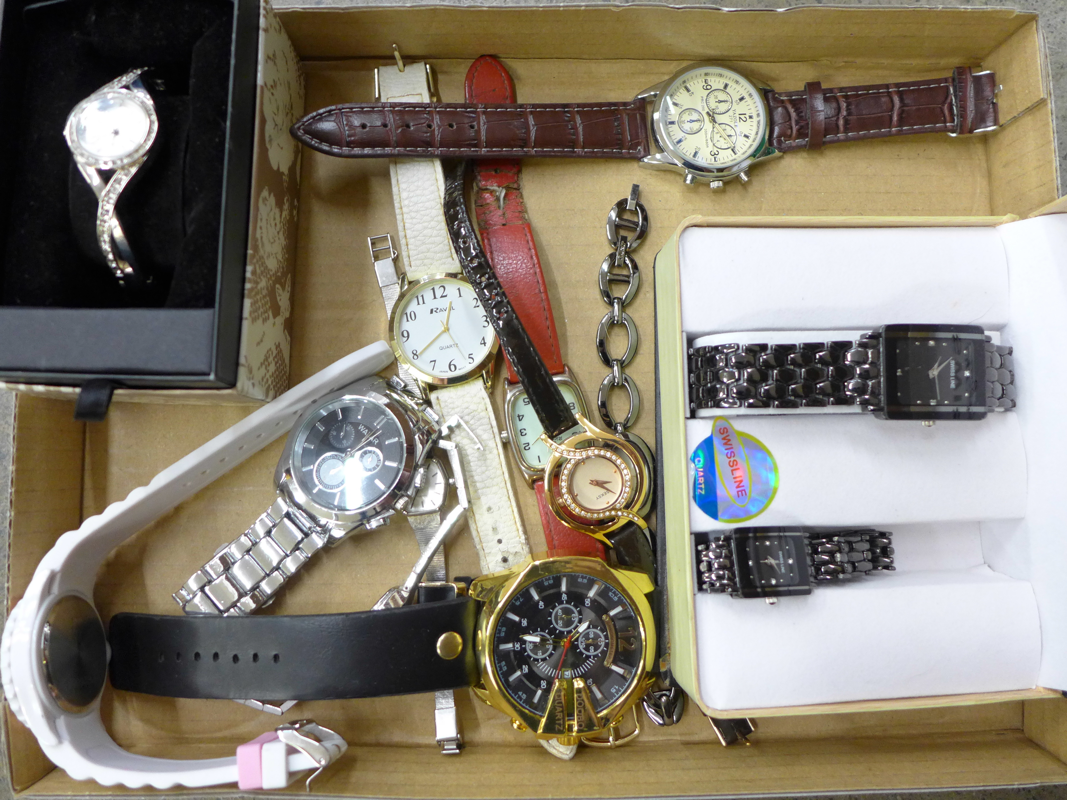 A collection of modern fashion wristwatches