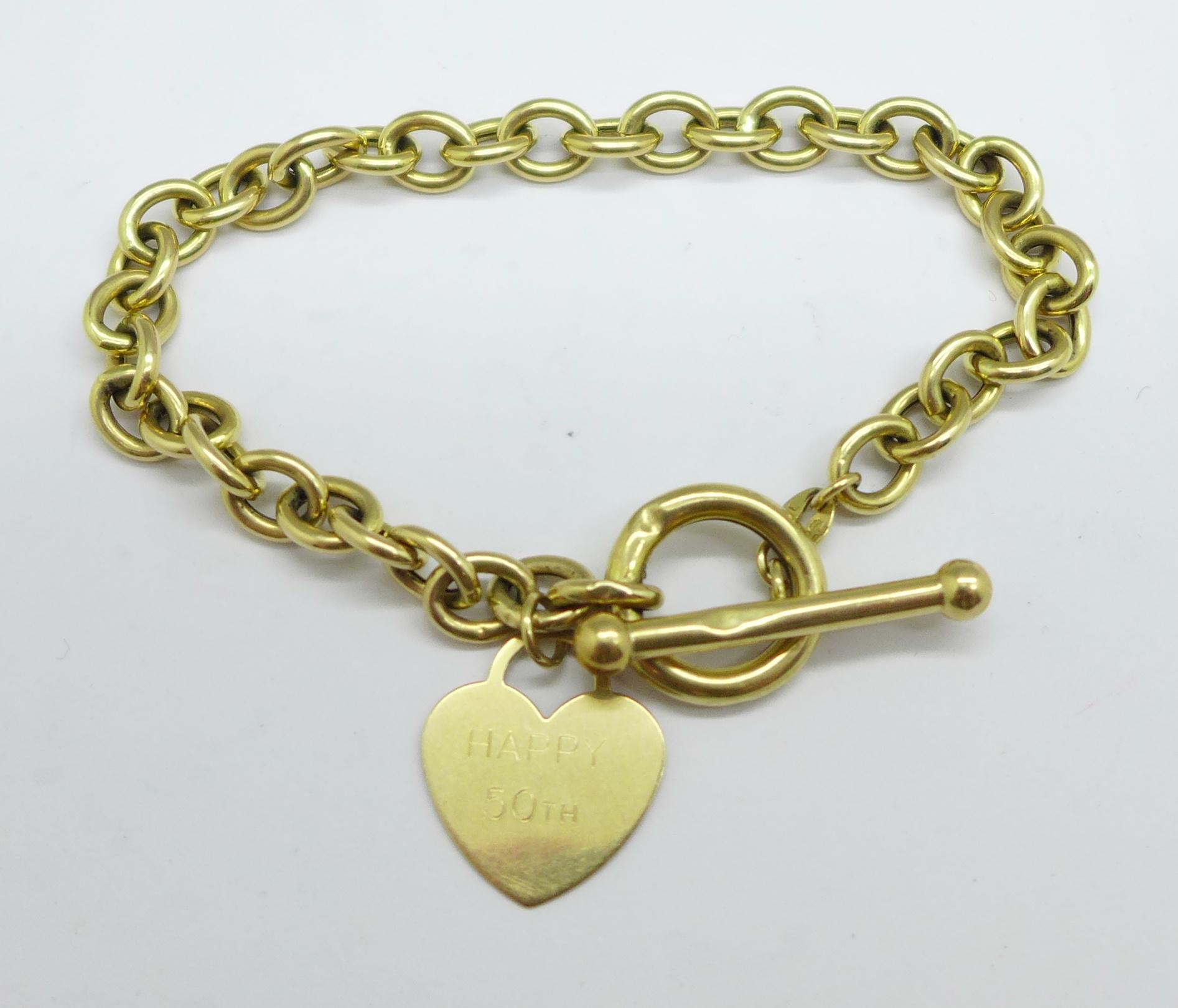 A yellow metal bracelet, 5.5g