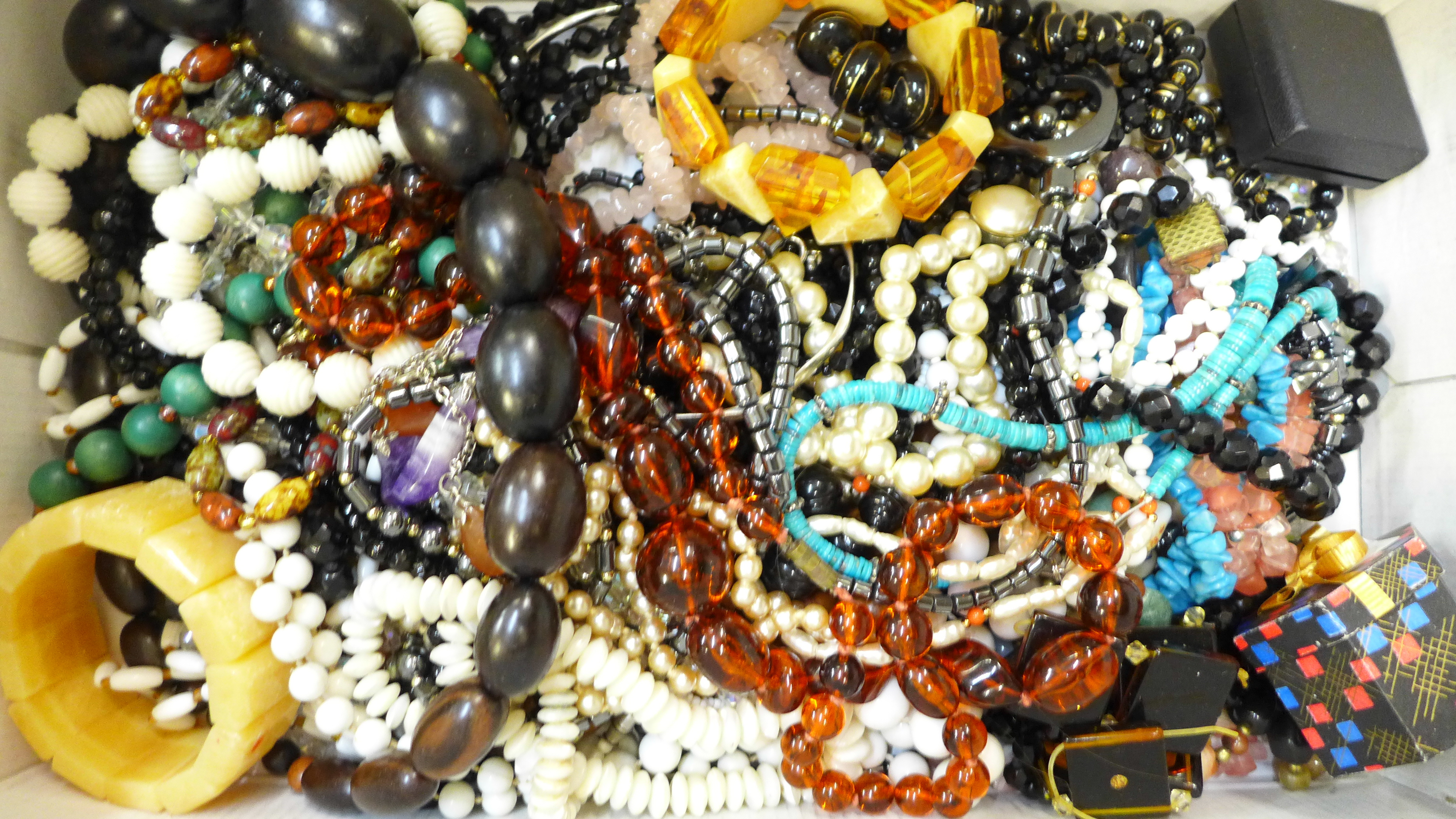Costume jewellery including glass and stone beads