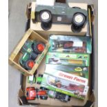 A tin-plate model Land Rover and other farming die-cast model vehicles **PLEASE NOTE THIS LOT IS NOT