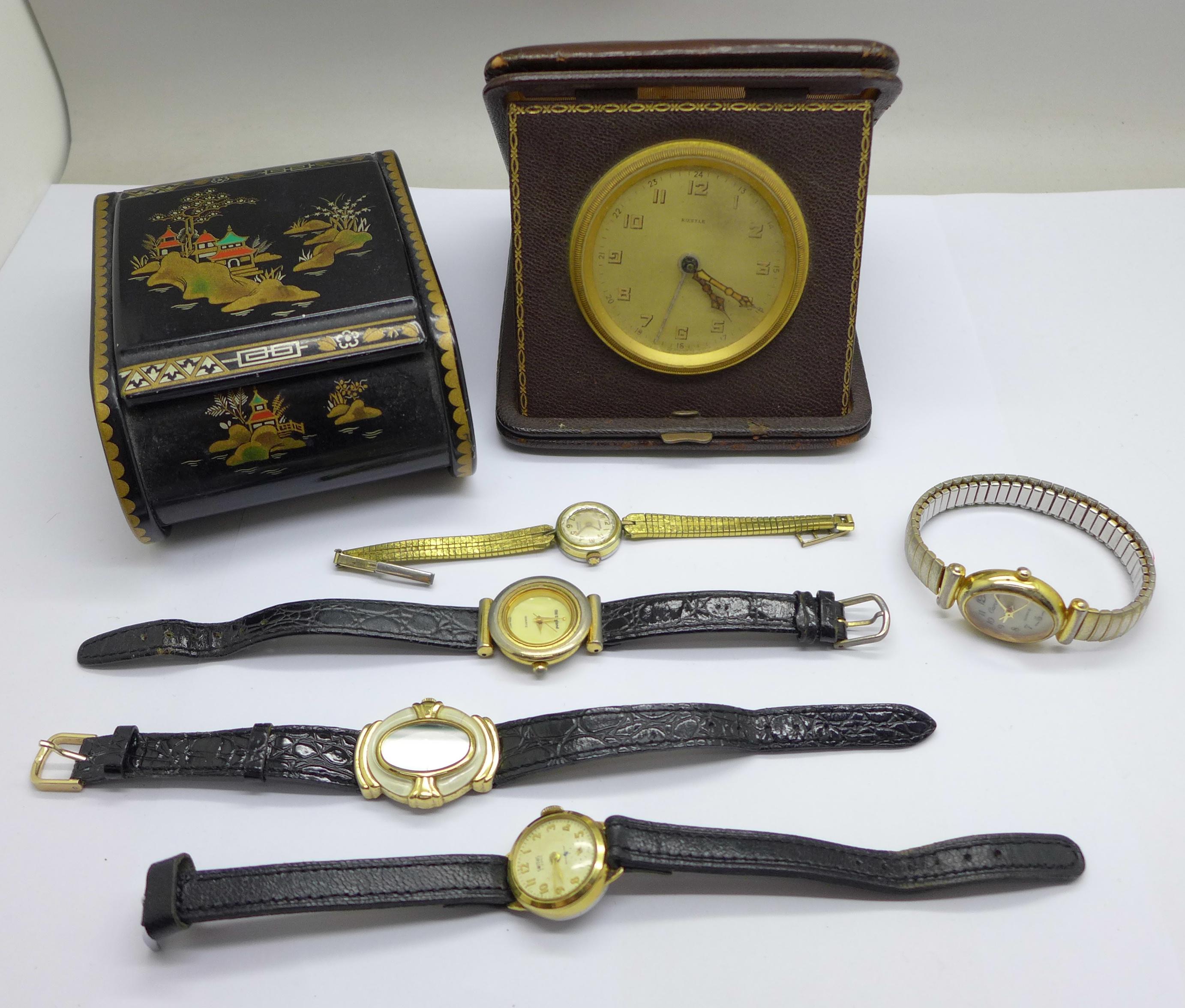 Five lady's wristwatches, a Kienzle travel clock and a trinket box