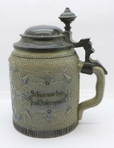 An early Mettlach stein, signed HR, and No. 156 with enamelled picture