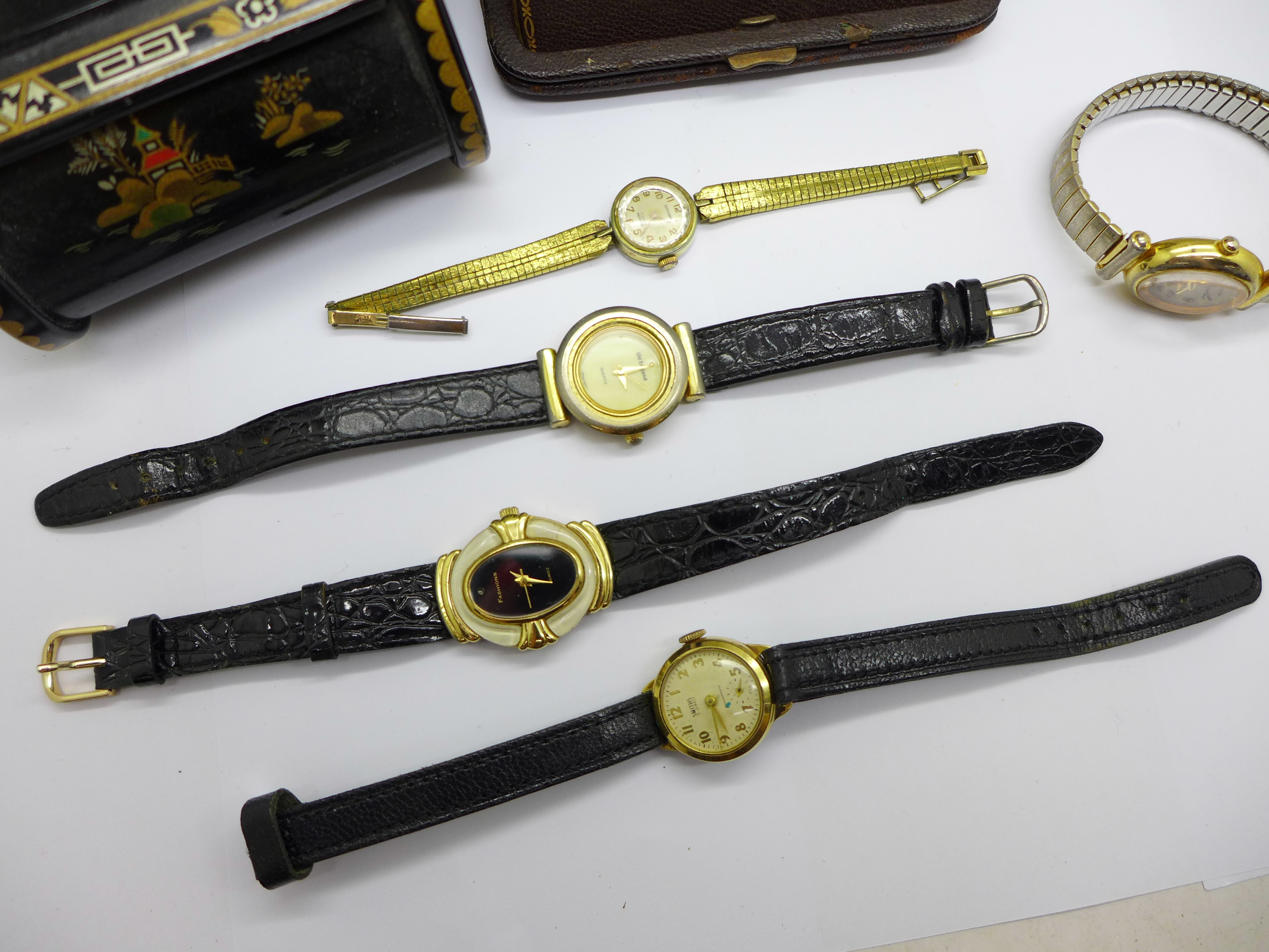 Five lady's wristwatches, a Kienzle travel clock and a trinket box - Image 2 of 9