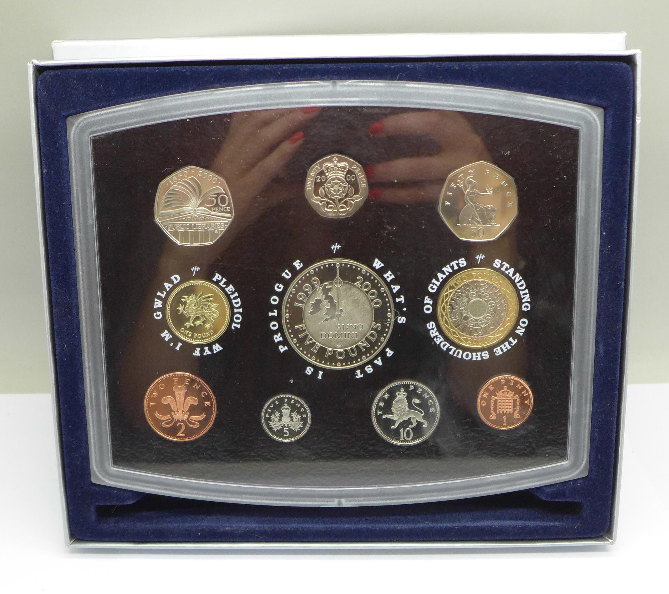 A Royal Mint Millennium proof coin set, 2000, boxed