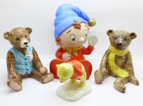 A Noddy money bank, two Royal Doulton Beswick Teddy bears, Benjamin and Archie and a Royal Doulton