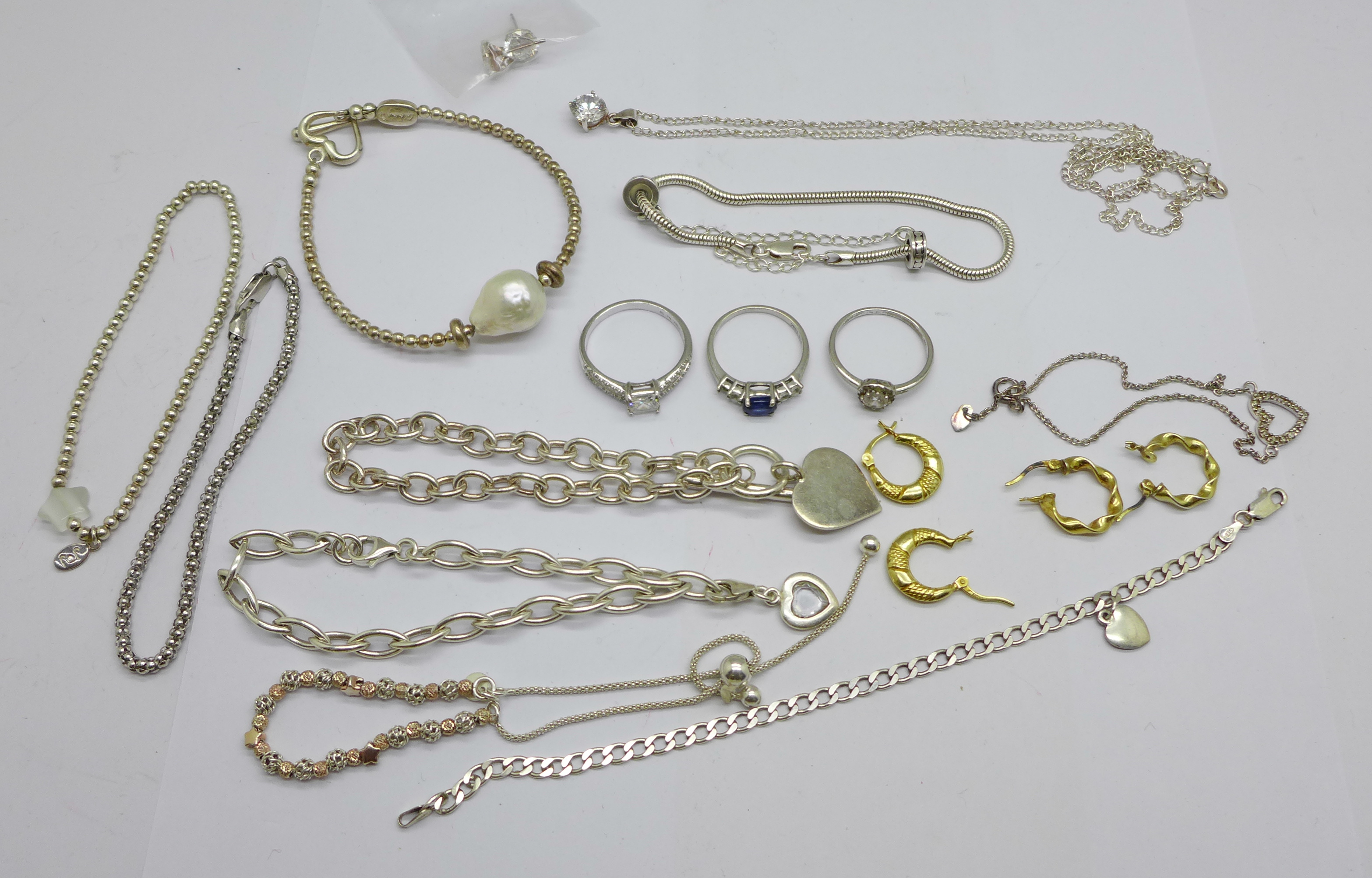 A collection of silver jewellery including bracelets, necklaces and earrings, etc., 80g
