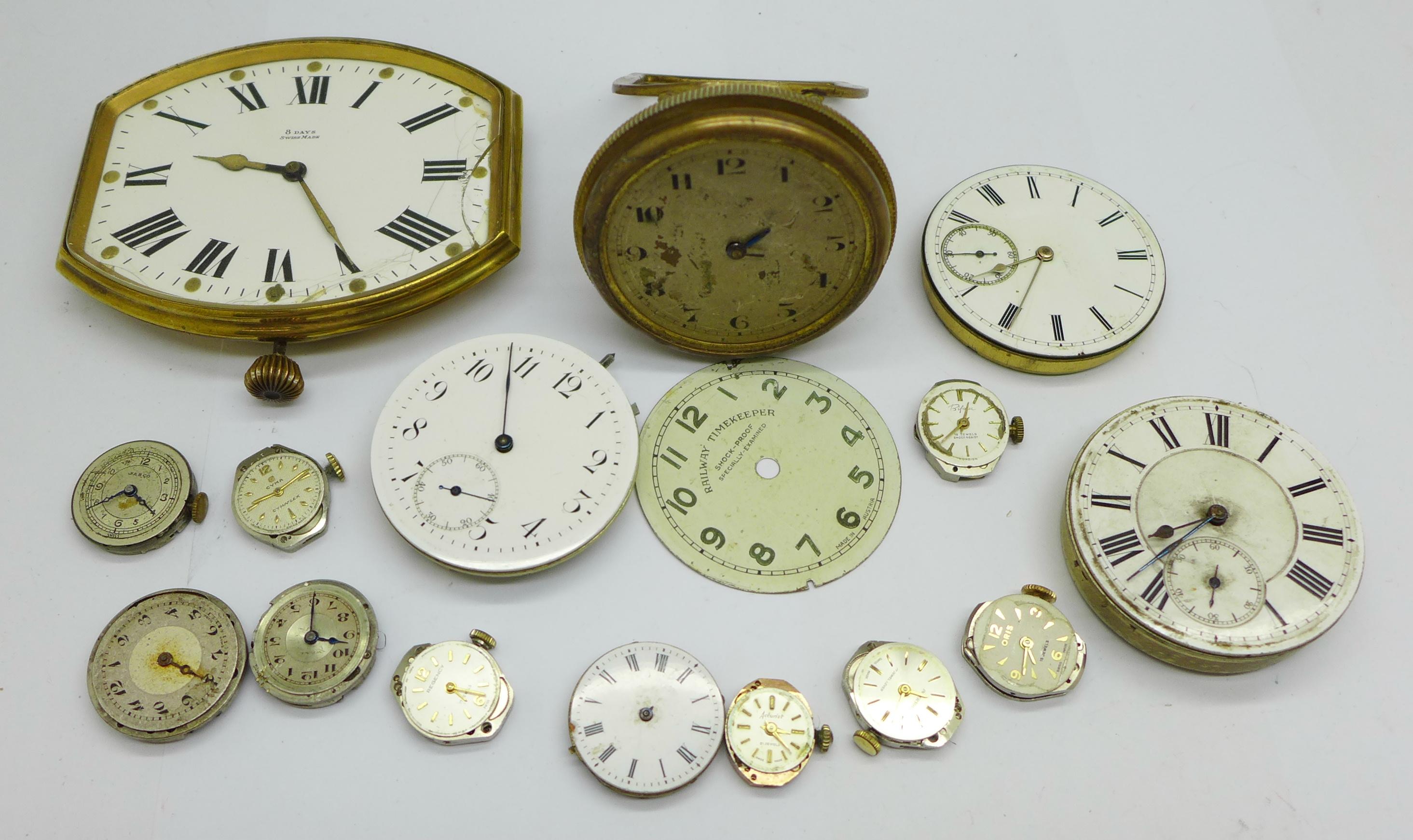 A clock movement, pocket watch movements and wristwatch movements