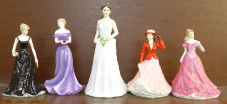 Five Royal Worcester figures, December, August, Elizabeth, Duchess of Cambridge and Pisces, boxed