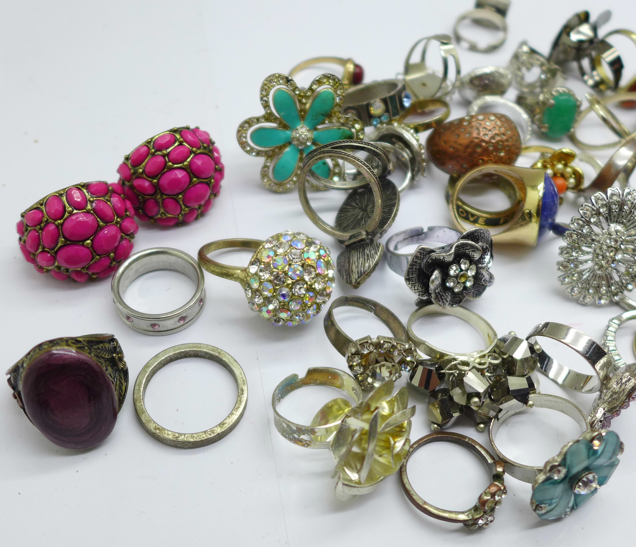 Fifty-five costume rings - Image 2 of 3