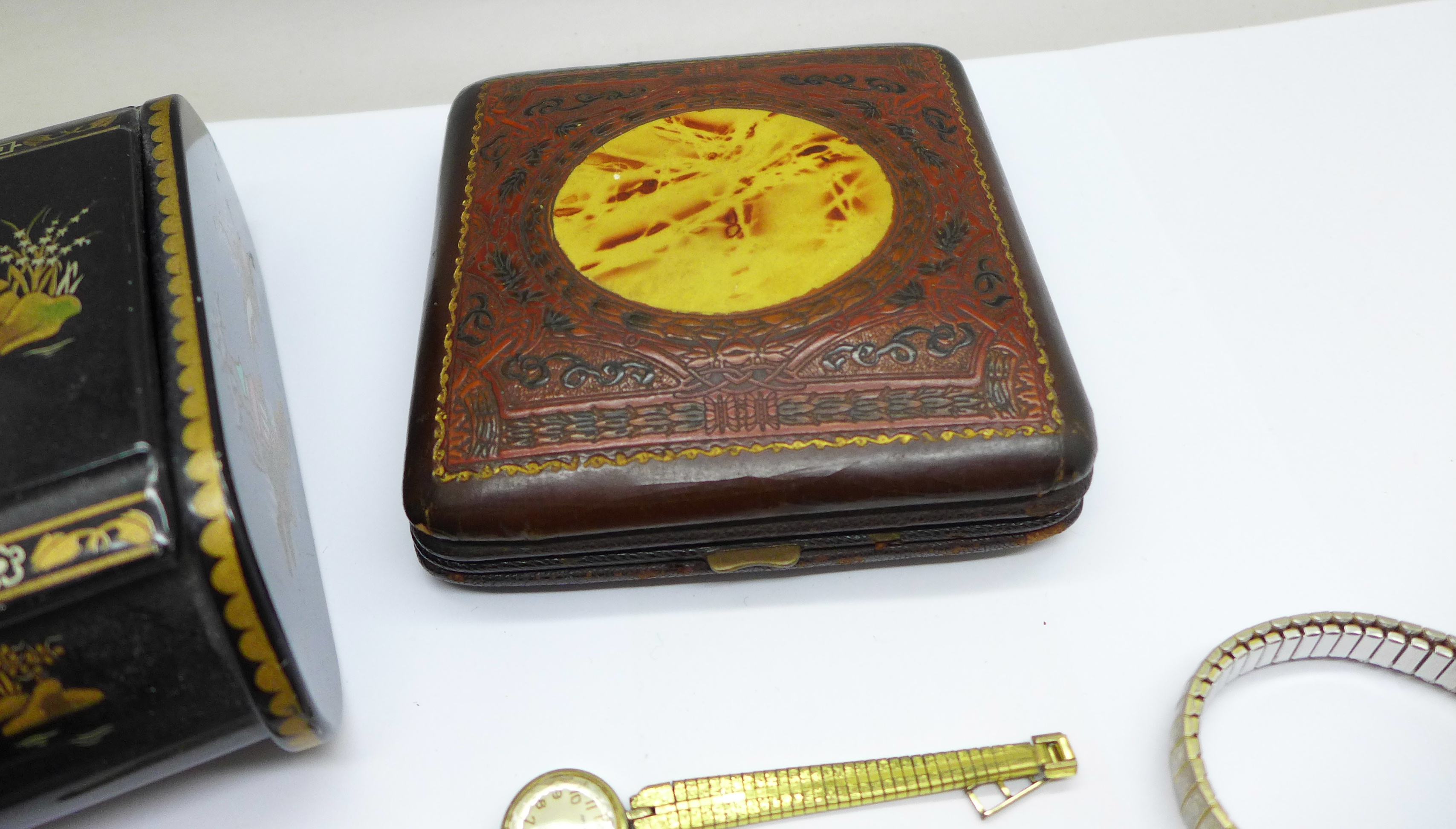 Five lady's wristwatches, a Kienzle travel clock and a trinket box - Image 6 of 9