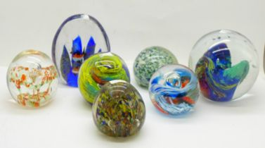 A collection of glass paperweights (7)