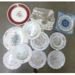 A collection of plates including Royal Doulton Wind in the Willows plates by Christina Twates and