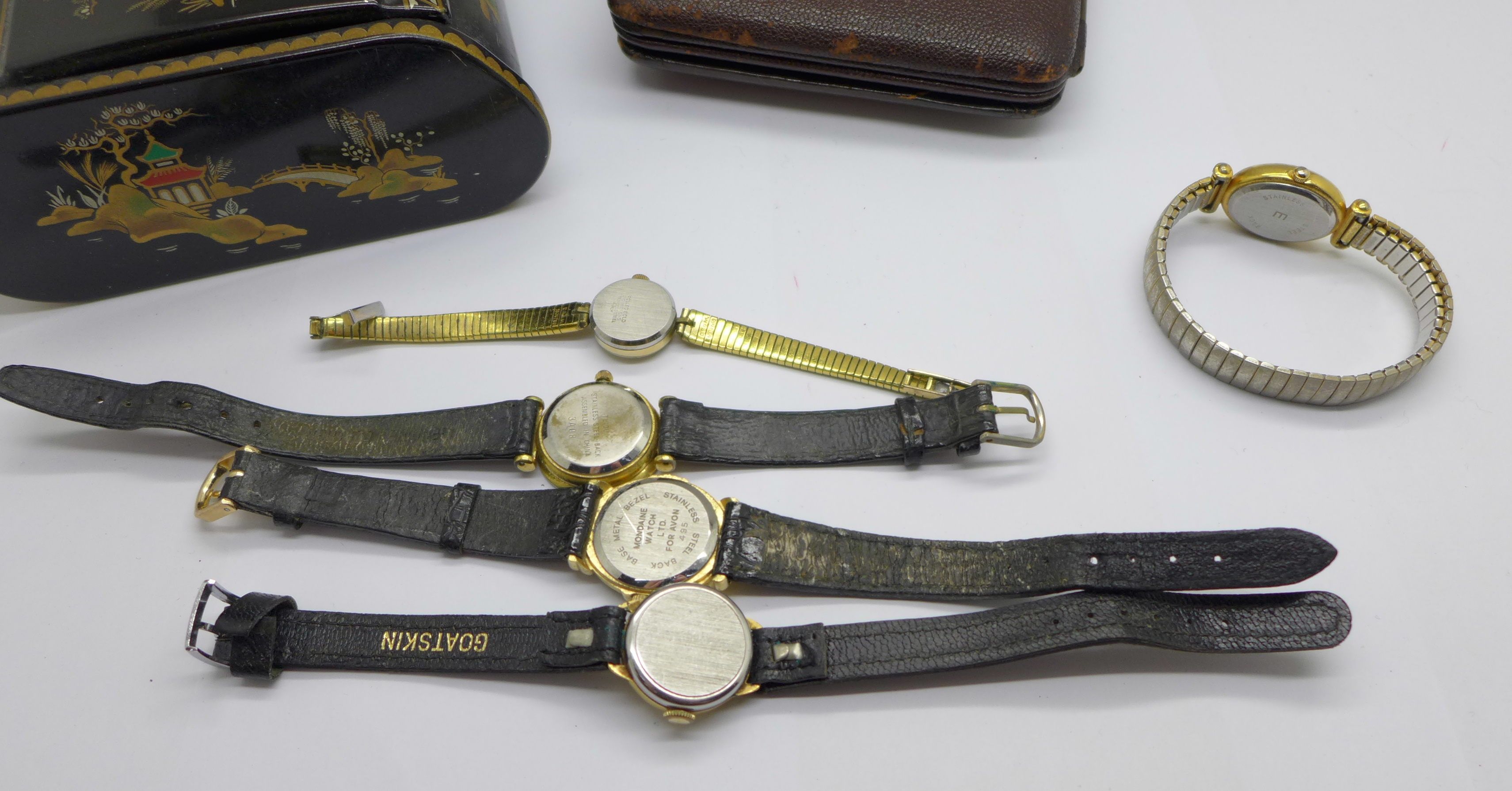 Five lady's wristwatches, a Kienzle travel clock and a trinket box - Image 9 of 9