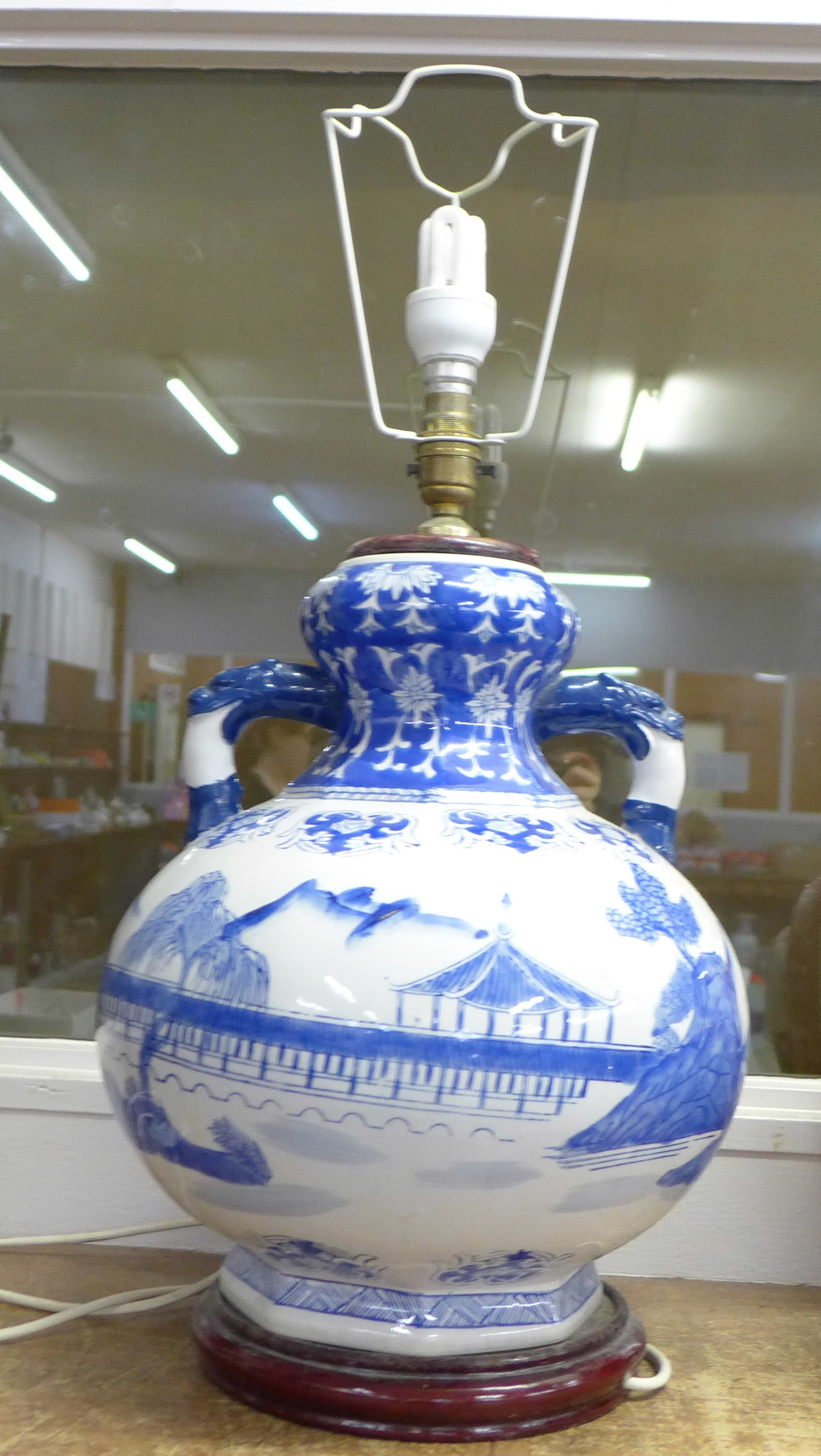A large Chinese blue and white table lamp, 40cm