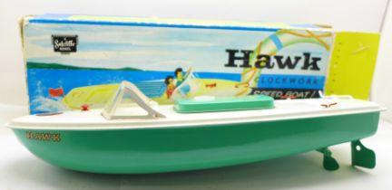 A tin-plate Sutcliffe Hawk model speedboat, boxed