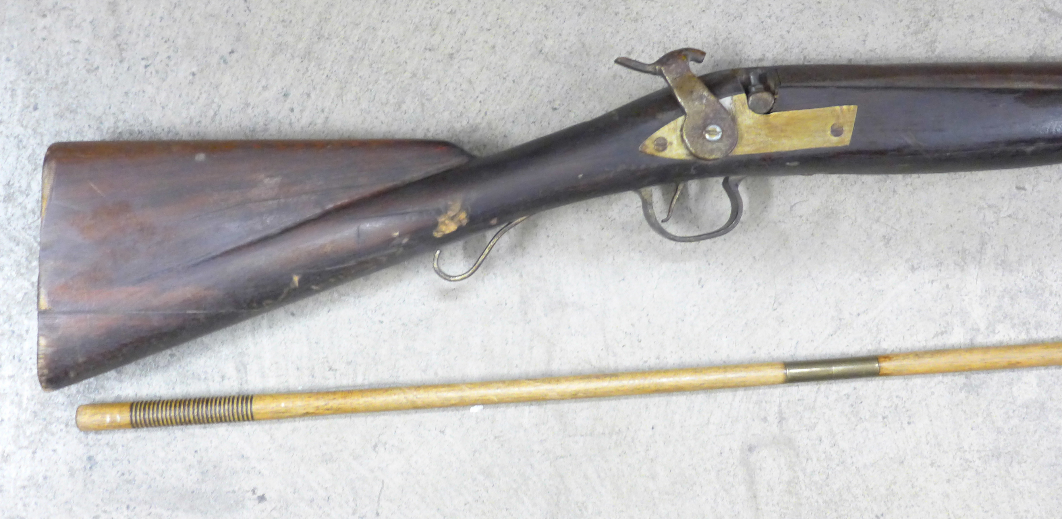 A percussion rifle with wooden rifle rod - Image 2 of 2