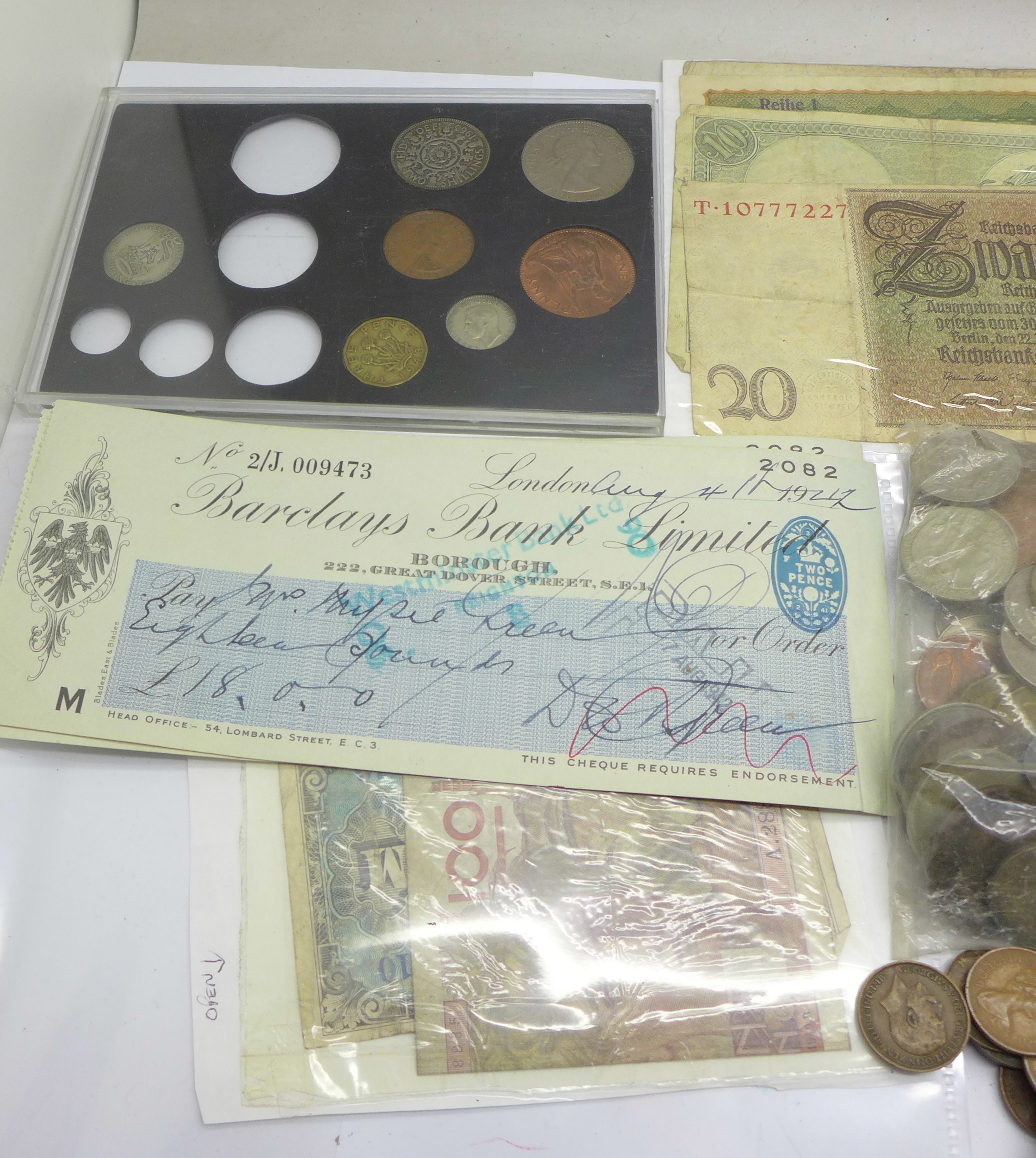 A tin of coins, bank notes and cheques - Image 3 of 5