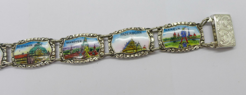 An enamelled silver bracelet marked 800 REU (manufacturer Fritz Reu & Co.), clasp marked Sterling, - Image 3 of 4