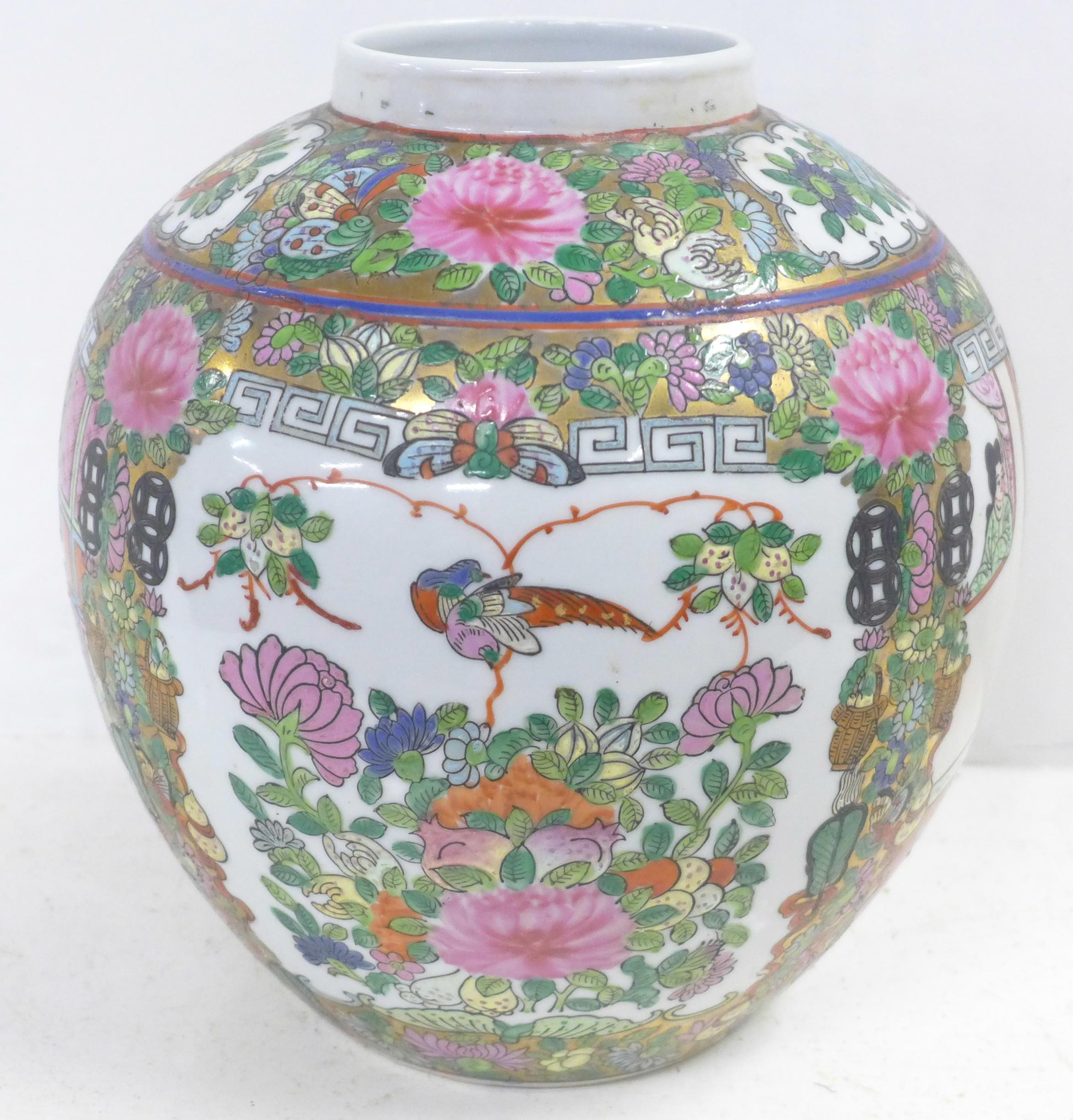 A famille verte ginger jar, lacking lid, 22.5cm - Image 4 of 6