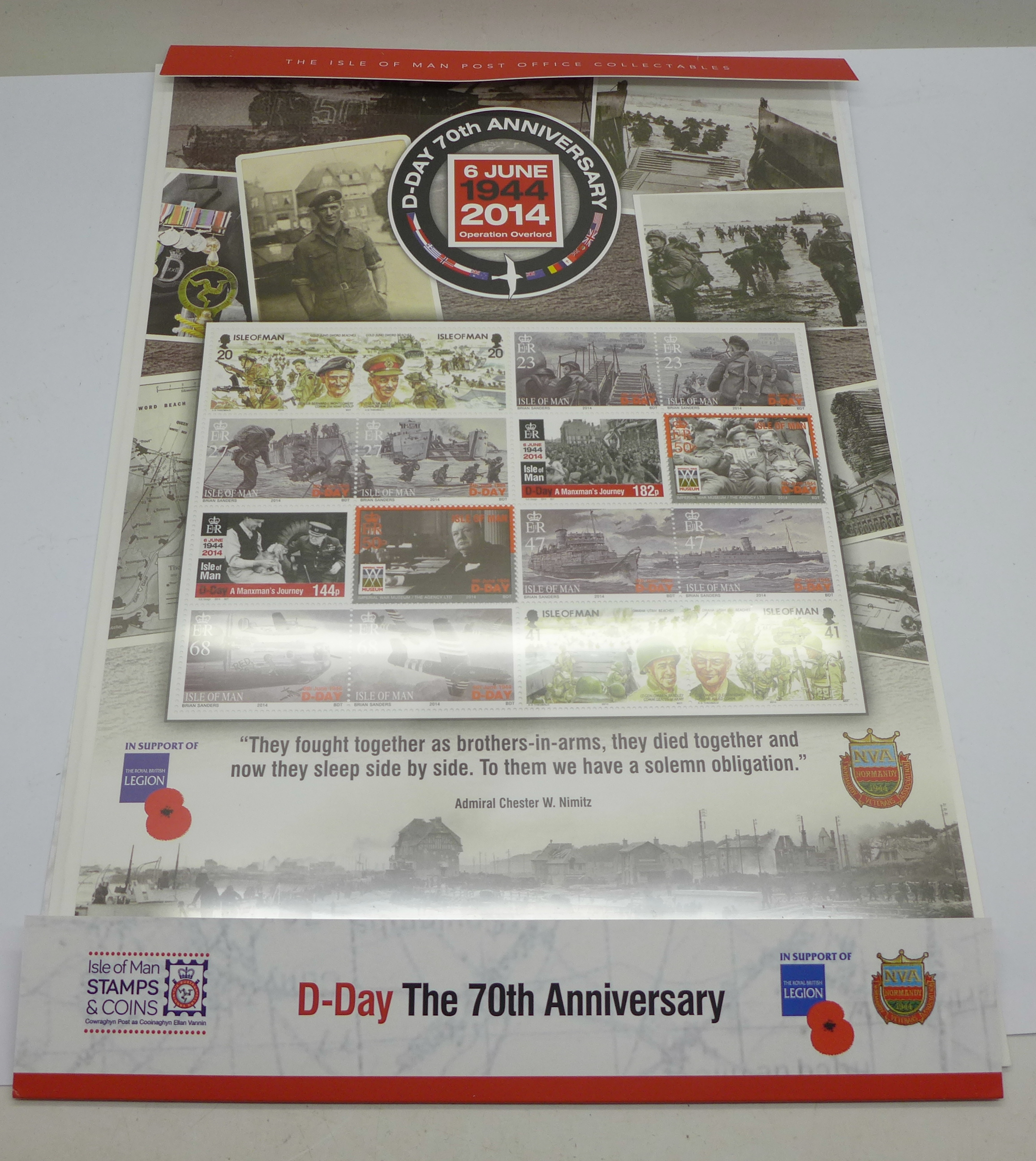 Isle of Man, 2014 D-Day 70th Anniversary 6th June 1944, Operation Overlord, fact sheets, etc.