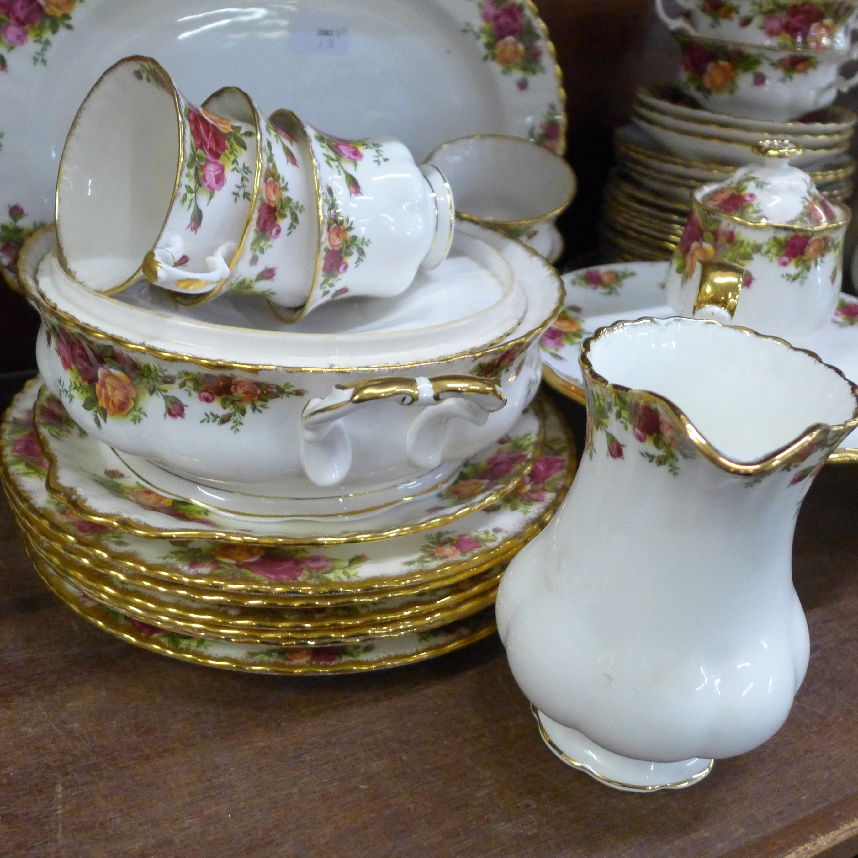 A collection Royal Albert Old Country Roses including six dinner plates, cups, coffee and teapot, - Image 2 of 7