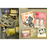 A collection of cine film, a cine camera, etc.