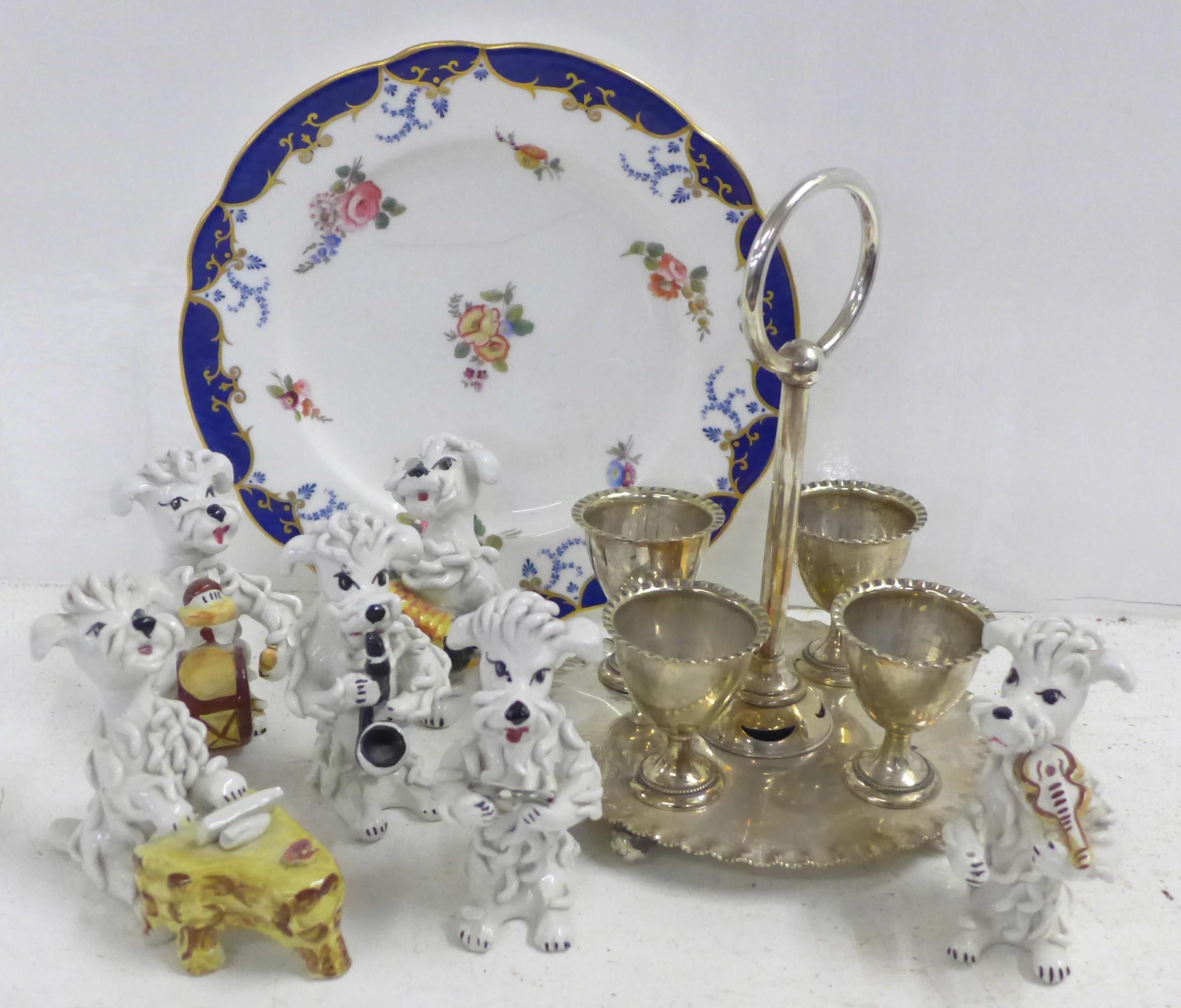Six novelty Italian pottery poodle 'bandsmen', a plated egg cruet and a Copeland plate, a/f **PLEASE