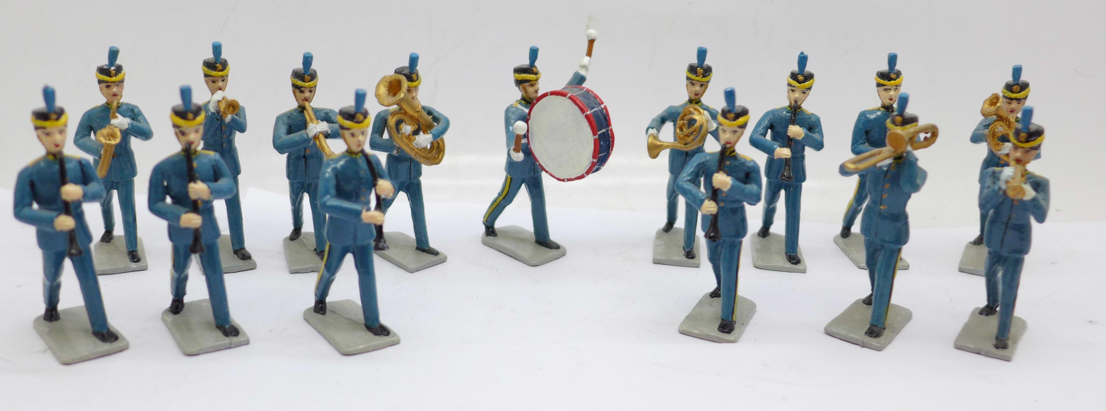 Fifteen metal marching band figures