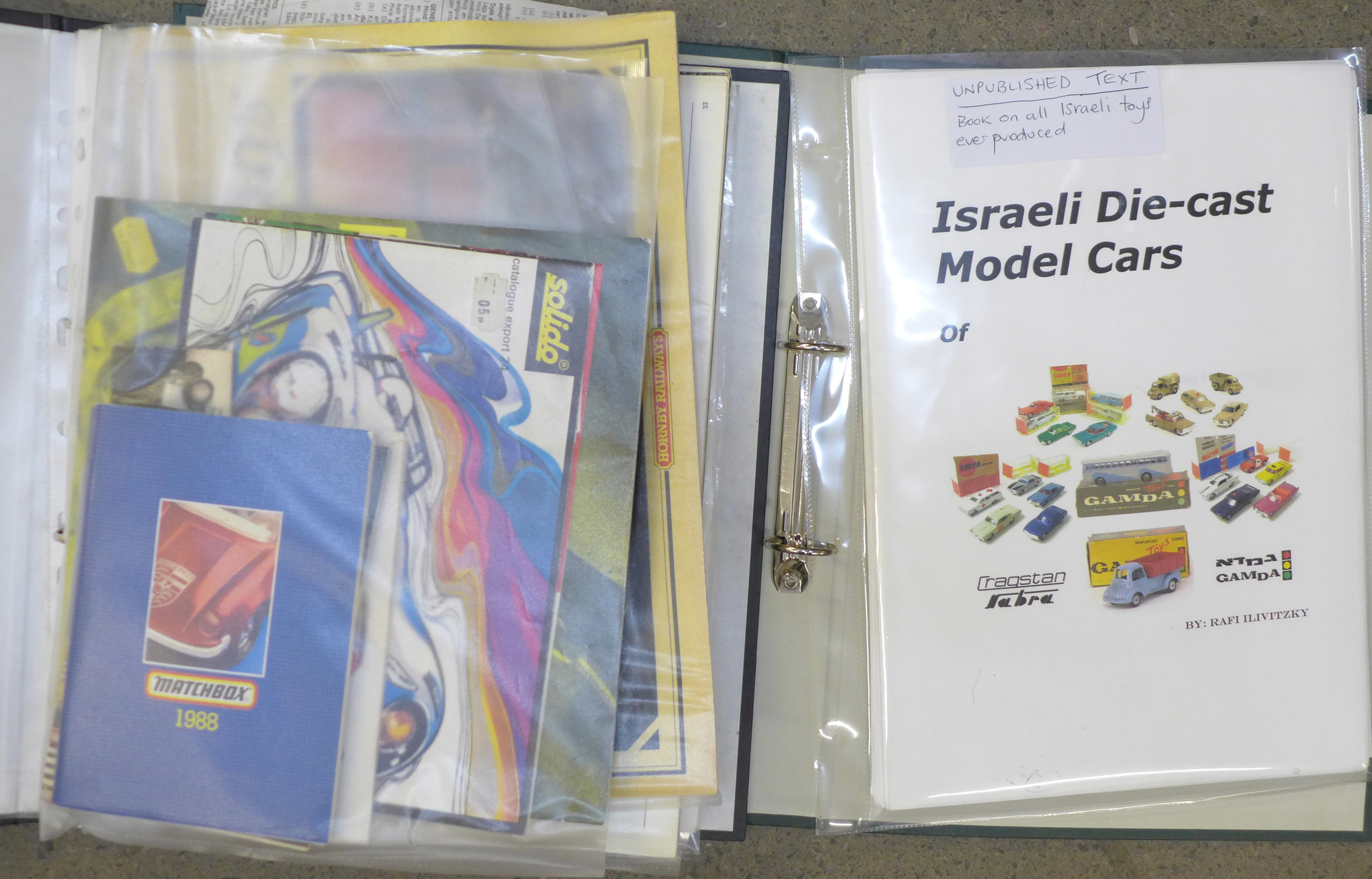 Two folders of toy catalogues, including an Israeli Toys catalogue (unpublished text)