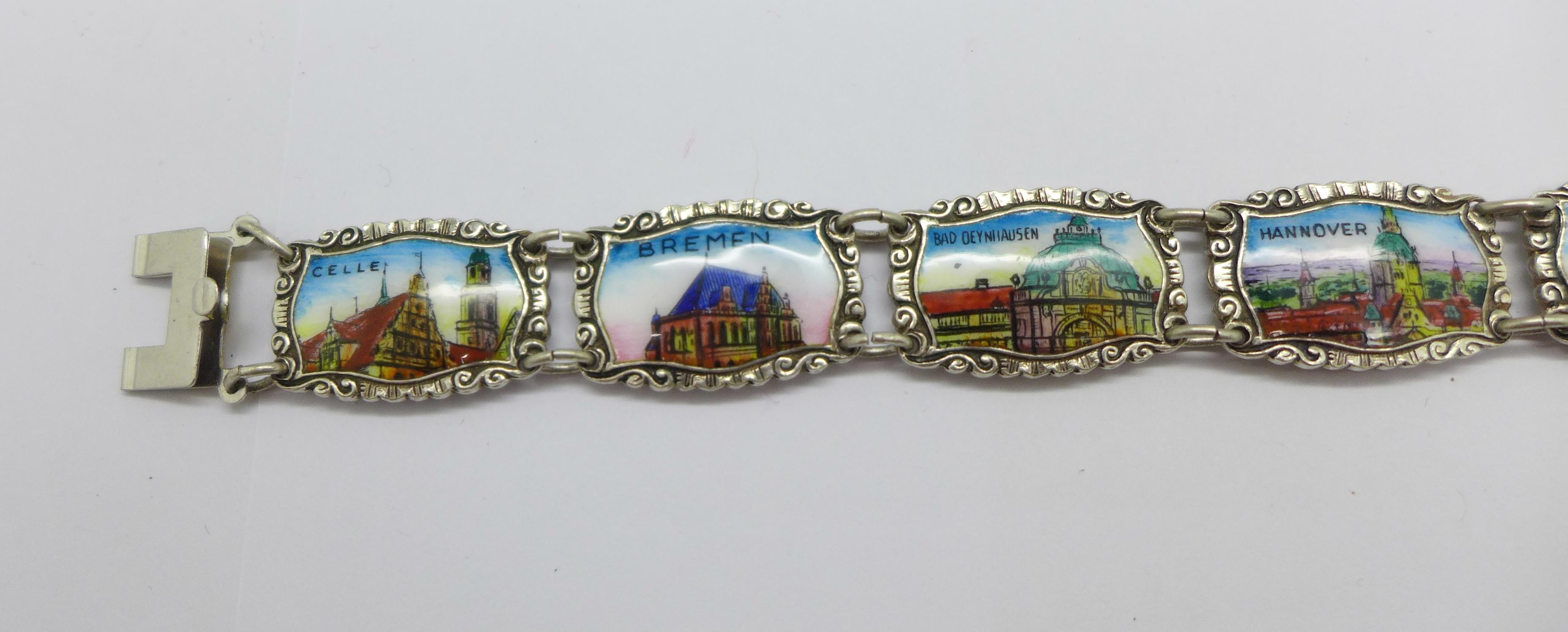 An enamelled silver bracelet marked 800 REU (manufacturer Fritz Reu & Co.), clasp marked Sterling, - Image 2 of 4