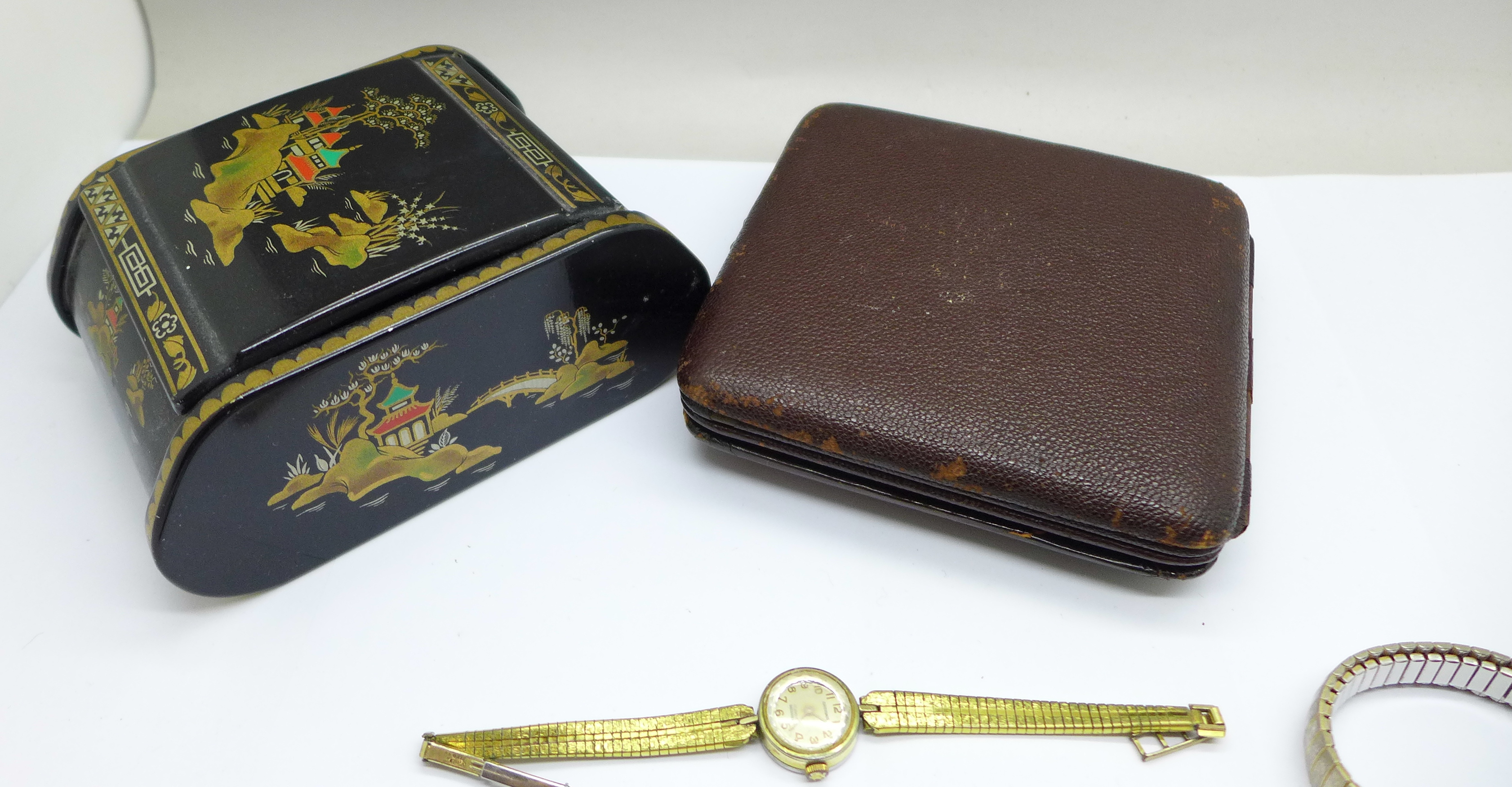 Five lady's wristwatches, a Kienzle travel clock and a trinket box - Image 7 of 9