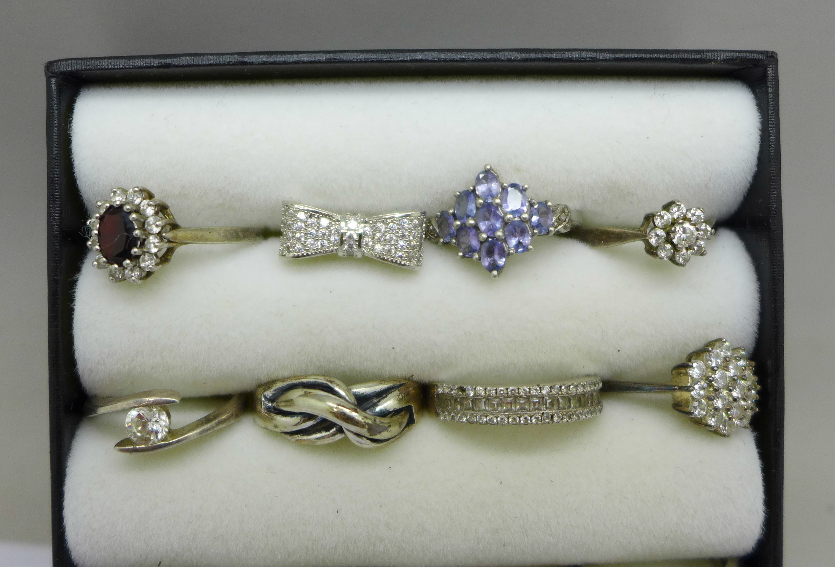 Twelve silver dress rings, most set with stones - Image 2 of 3