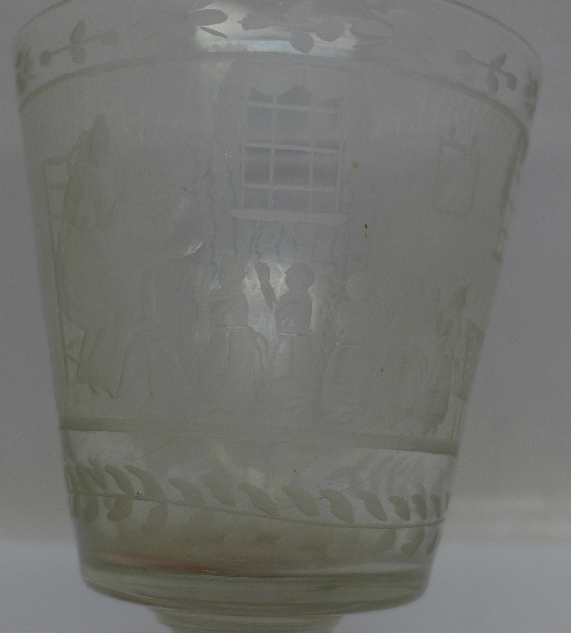 A 19th Century etched glass rummer, 133mm - Image 3 of 4