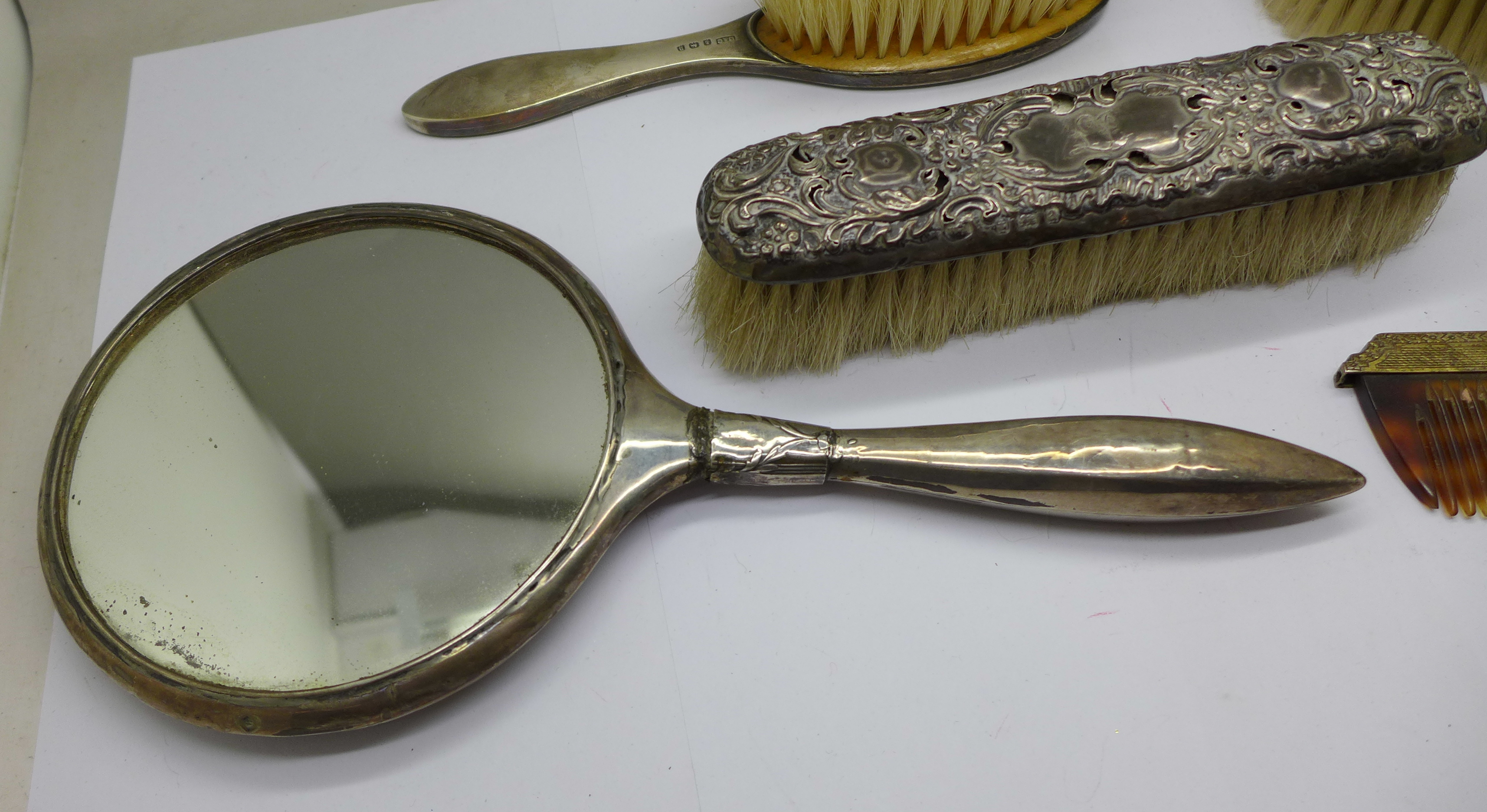 Silver brushes (two cased), comb and a hand mirror - Image 5 of 9
