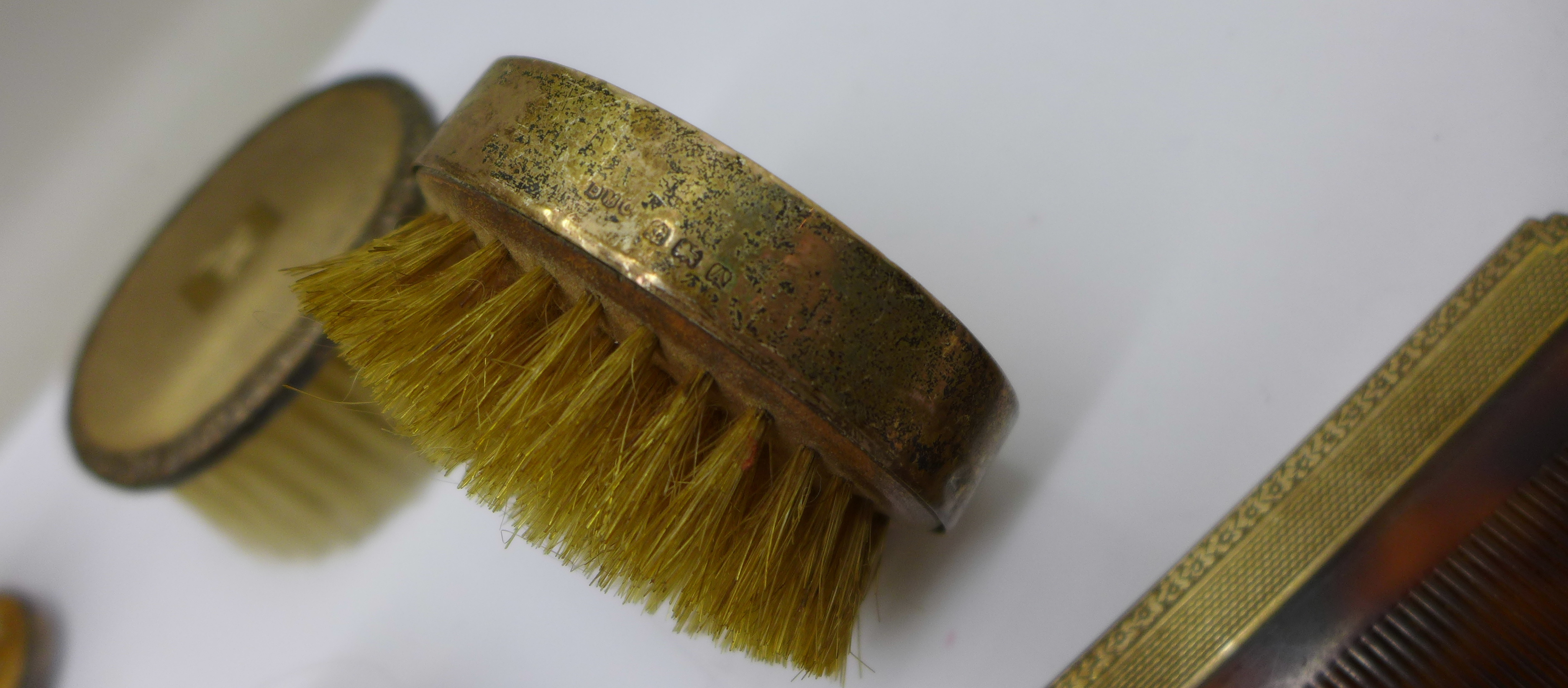 Silver brushes (two cased), comb and a hand mirror - Image 7 of 9