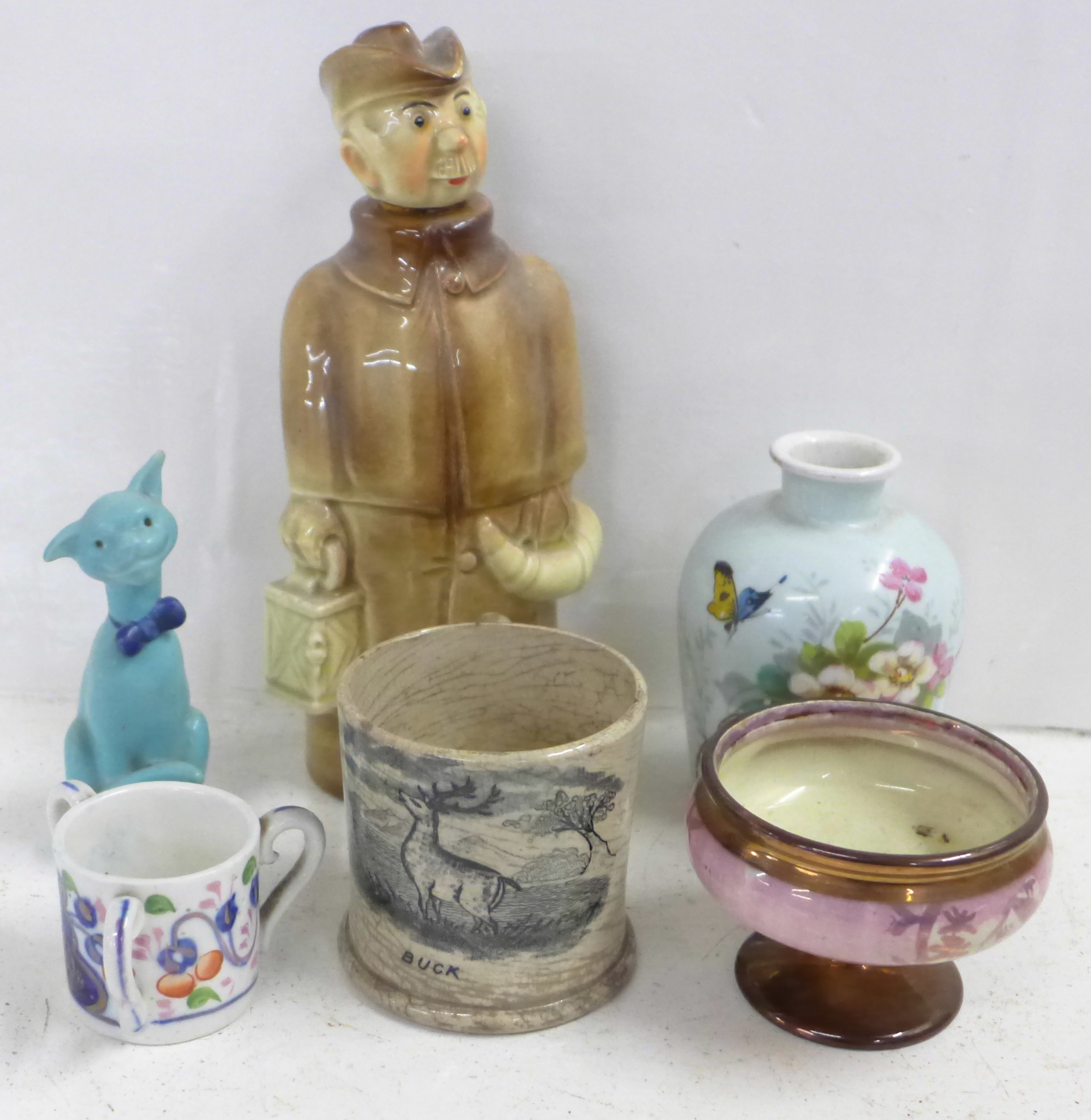 A small lustre jug, a small lustre comport, a French vase, a mug marked 'Buck', a Grafton China
