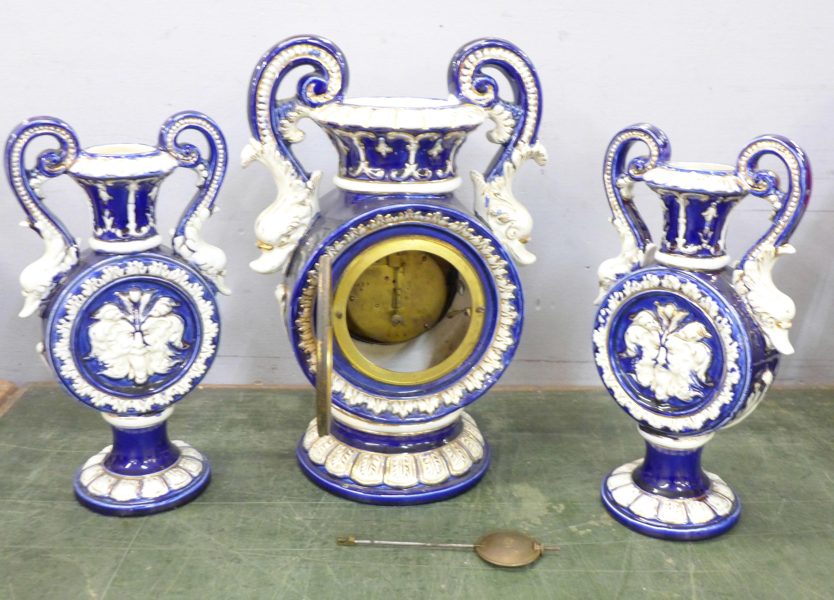 A ceramic clock garniture - Image 4 of 5
