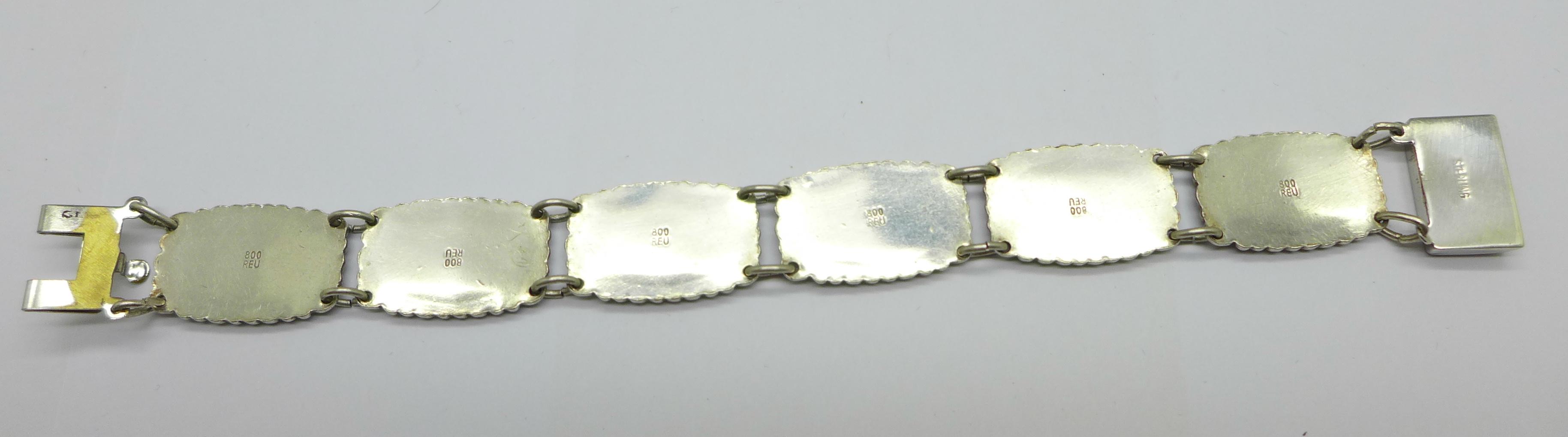 An enamelled silver bracelet marked 800 REU (manufacturer Fritz Reu & Co.), clasp marked Sterling, - Image 4 of 4