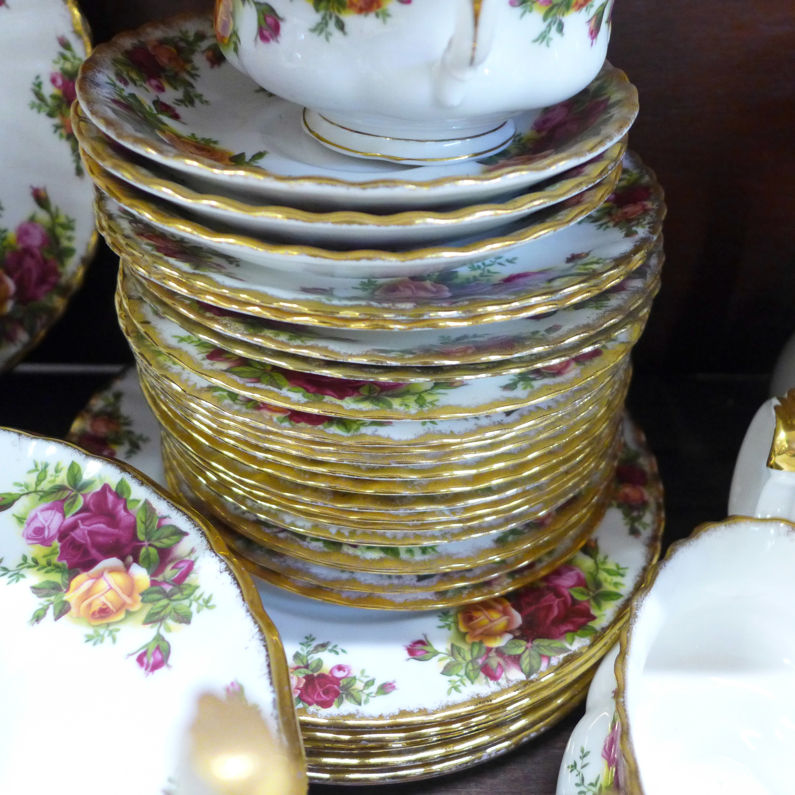 A collection Royal Albert Old Country Roses including six dinner plates, cups, coffee and teapot, - Image 3 of 7