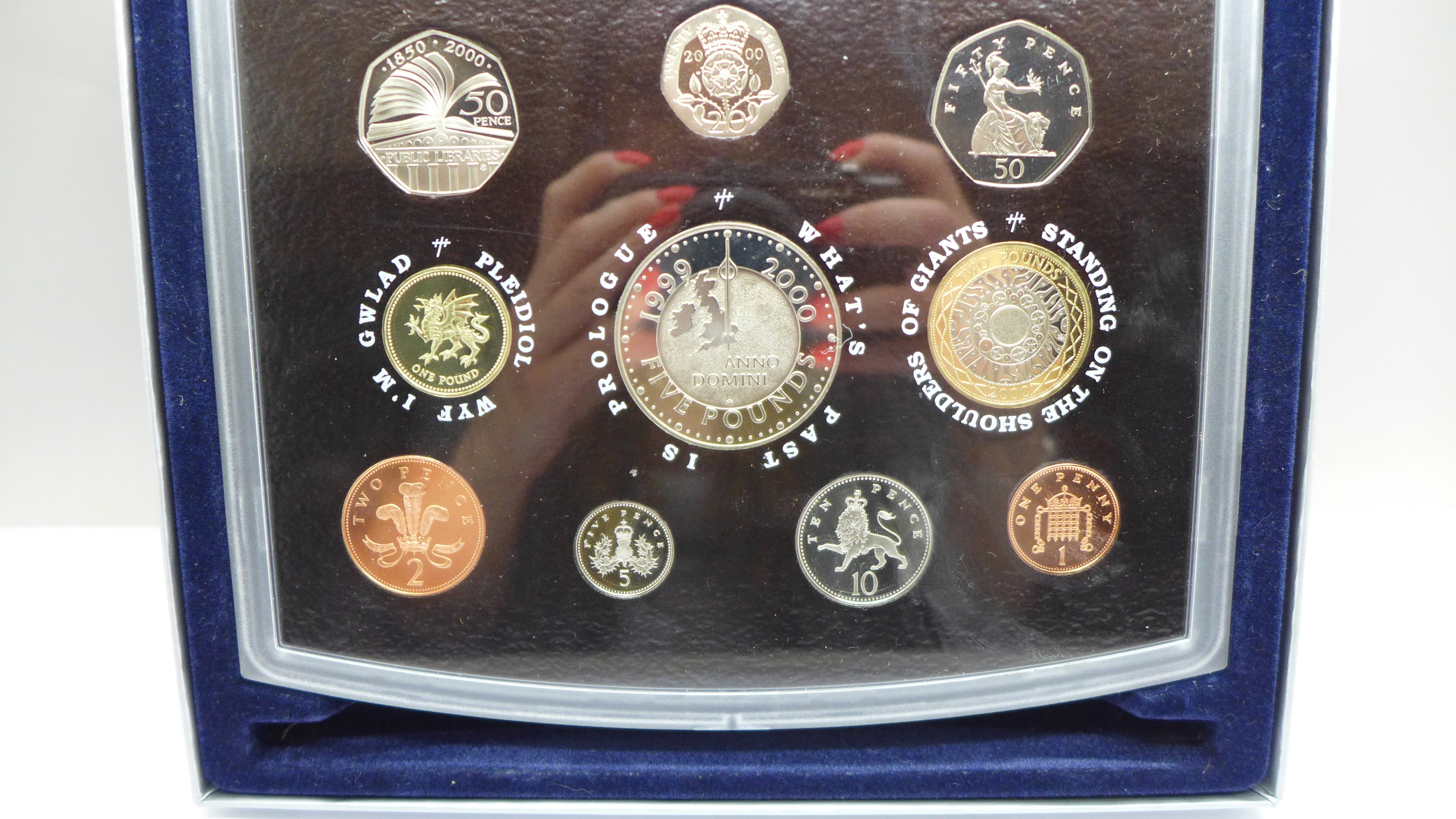 A Royal Mint Millennium proof coin set, 2000, boxed - Image 3 of 3