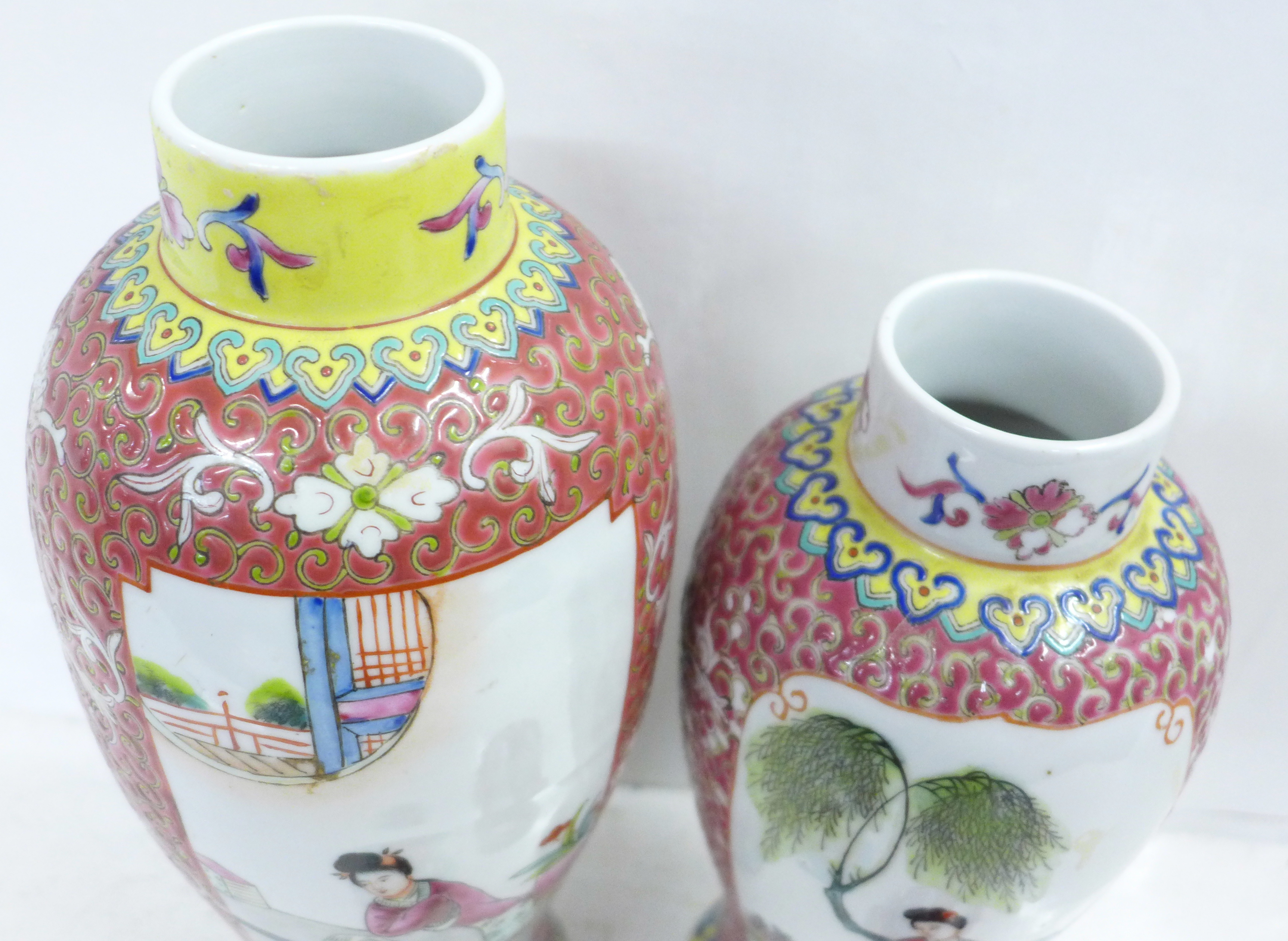 Two famille verte jars with covers - Image 4 of 5