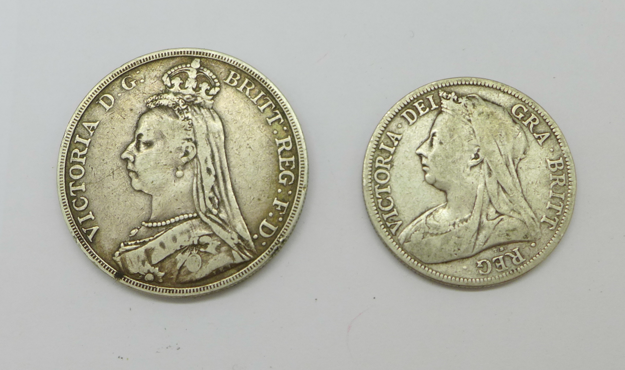 A Victorian 1889 crown and an 1898 half crown - Image 2 of 2