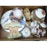A Sylvac posy vase or wall pocket, Royal Albert Old Country Roses china, an Edwardian tea set,
